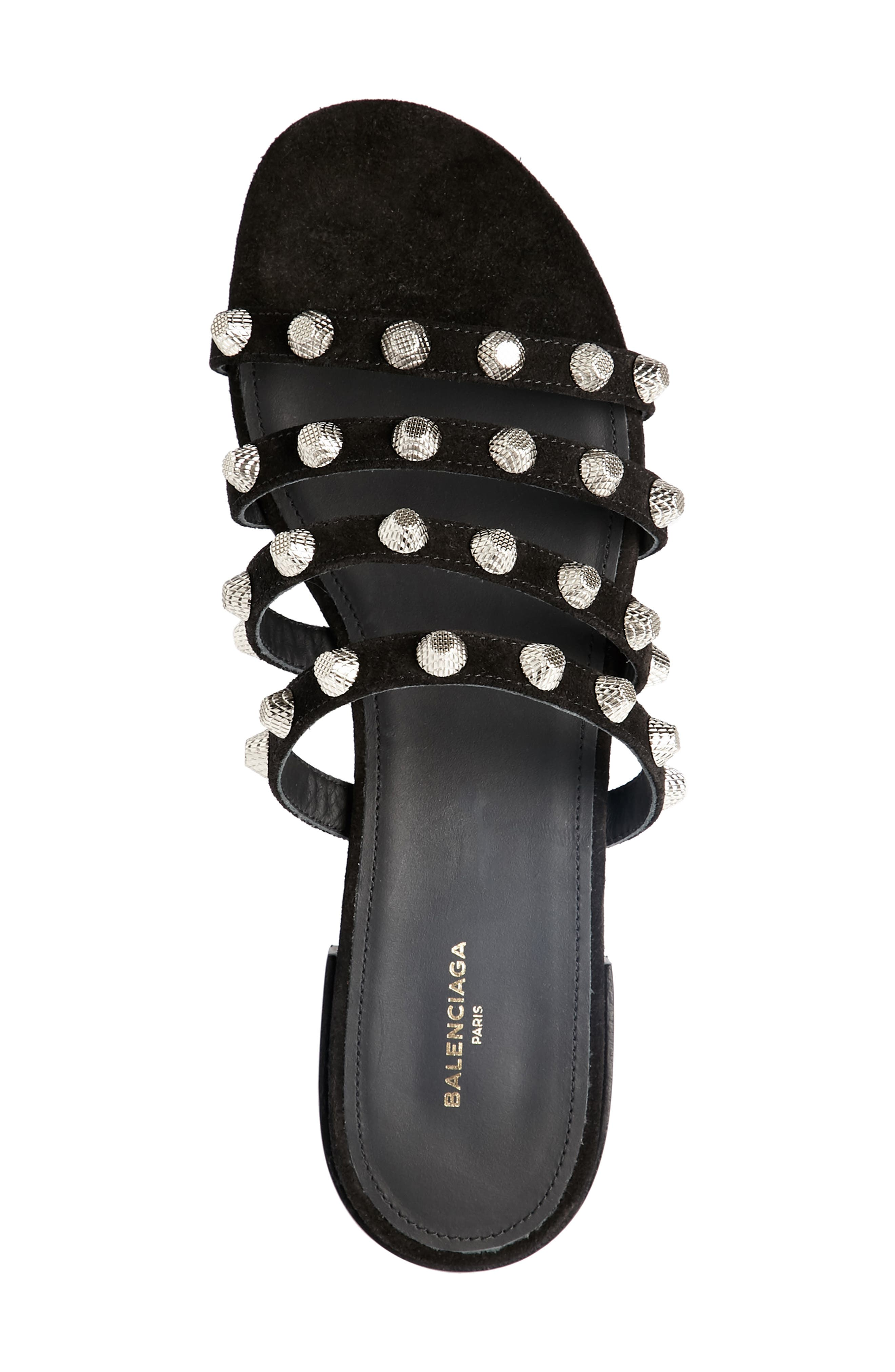 Studded Slide Sandal,                             Alternate thumbnail 4, color,                             Black