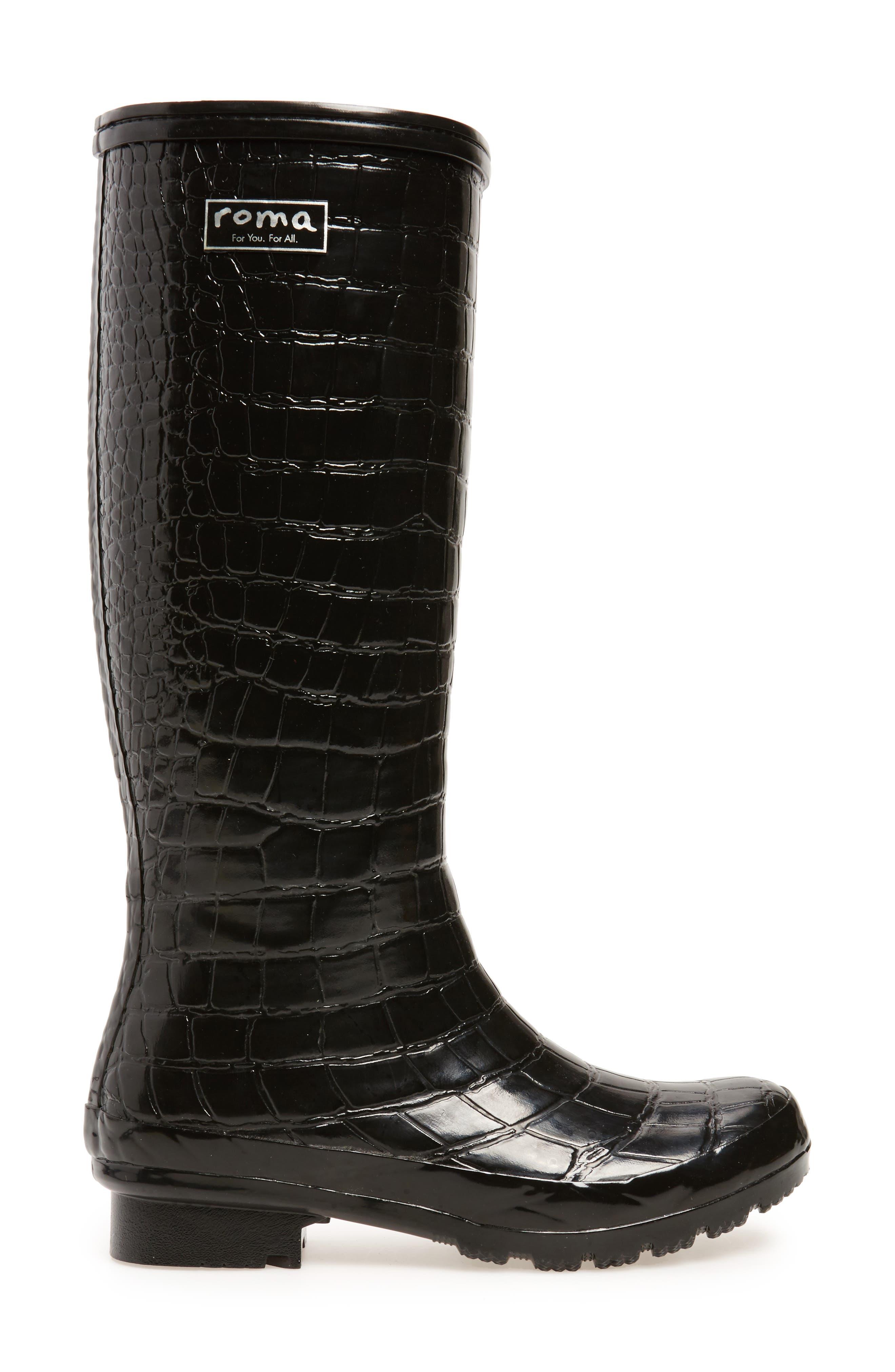 Classic Glossy Rain Boot,                             Alternate thumbnail 3, color,                             Black Croc