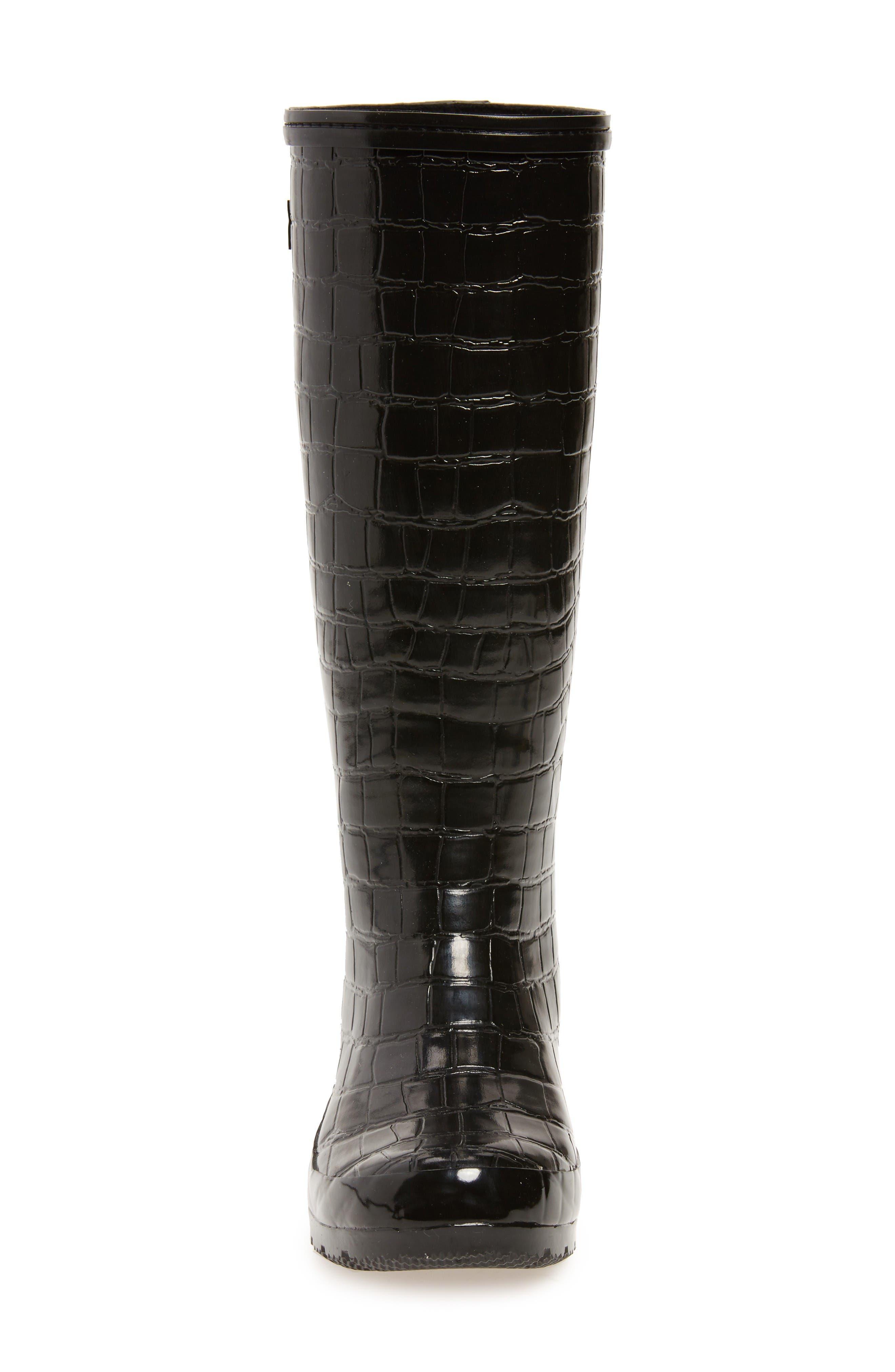Classic Glossy Rain Boot,                             Alternate thumbnail 4, color,                             Black Croc