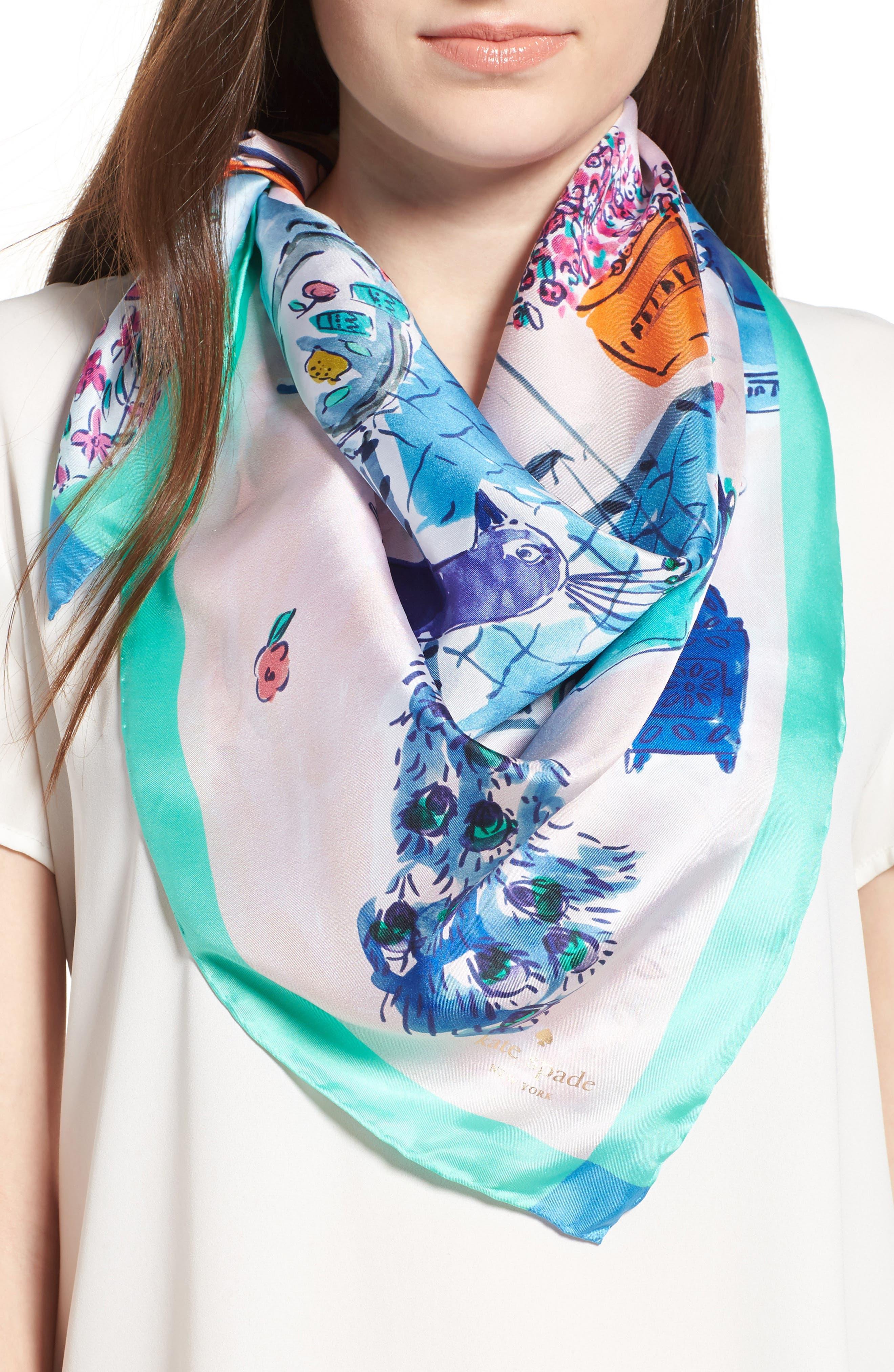 Main Image - kate spade new york majorelle scene silk square scarf