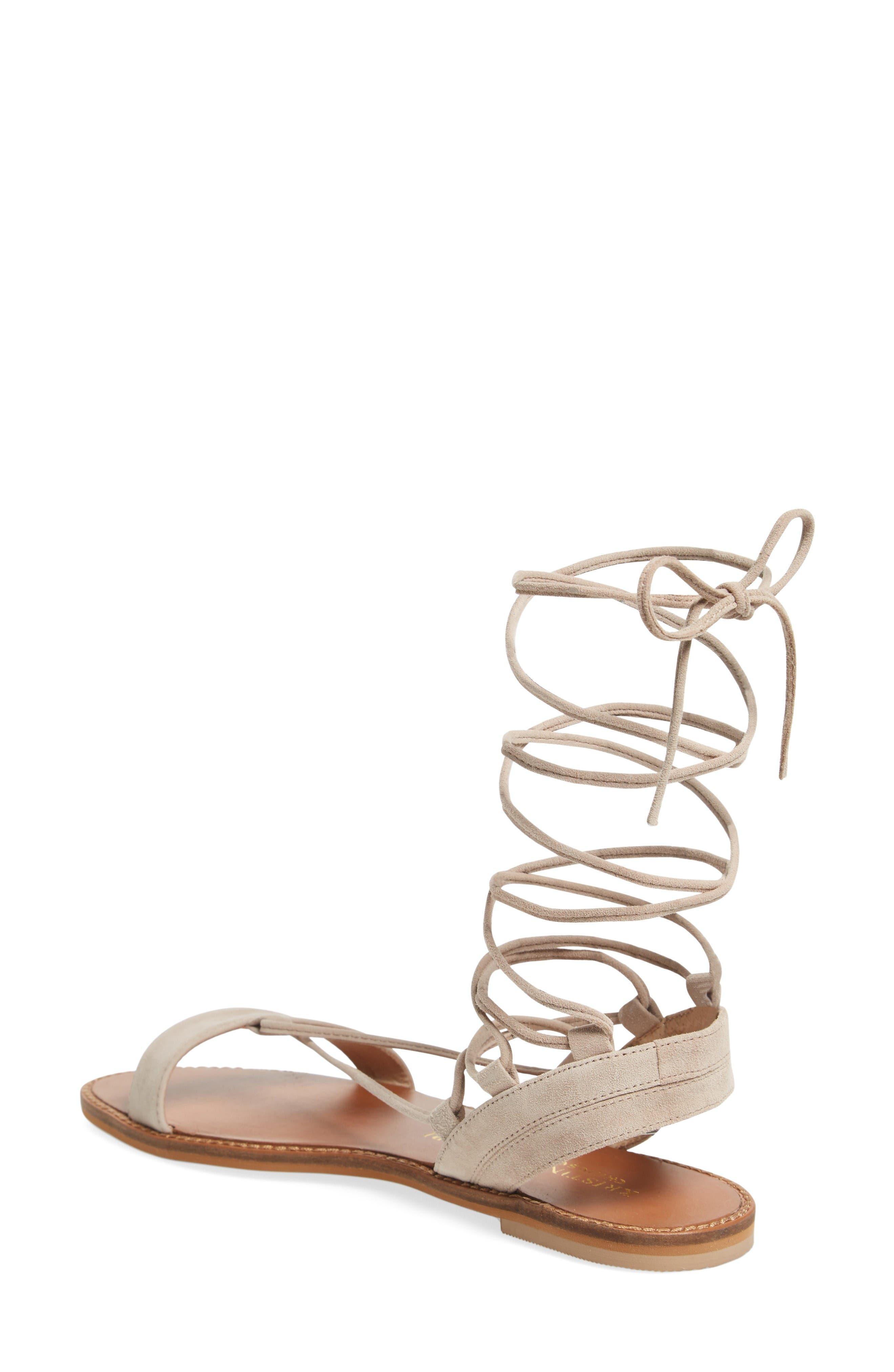 Brea Ankle Wrap Sandal,                             Alternate thumbnail 2, color,                             Mushroom