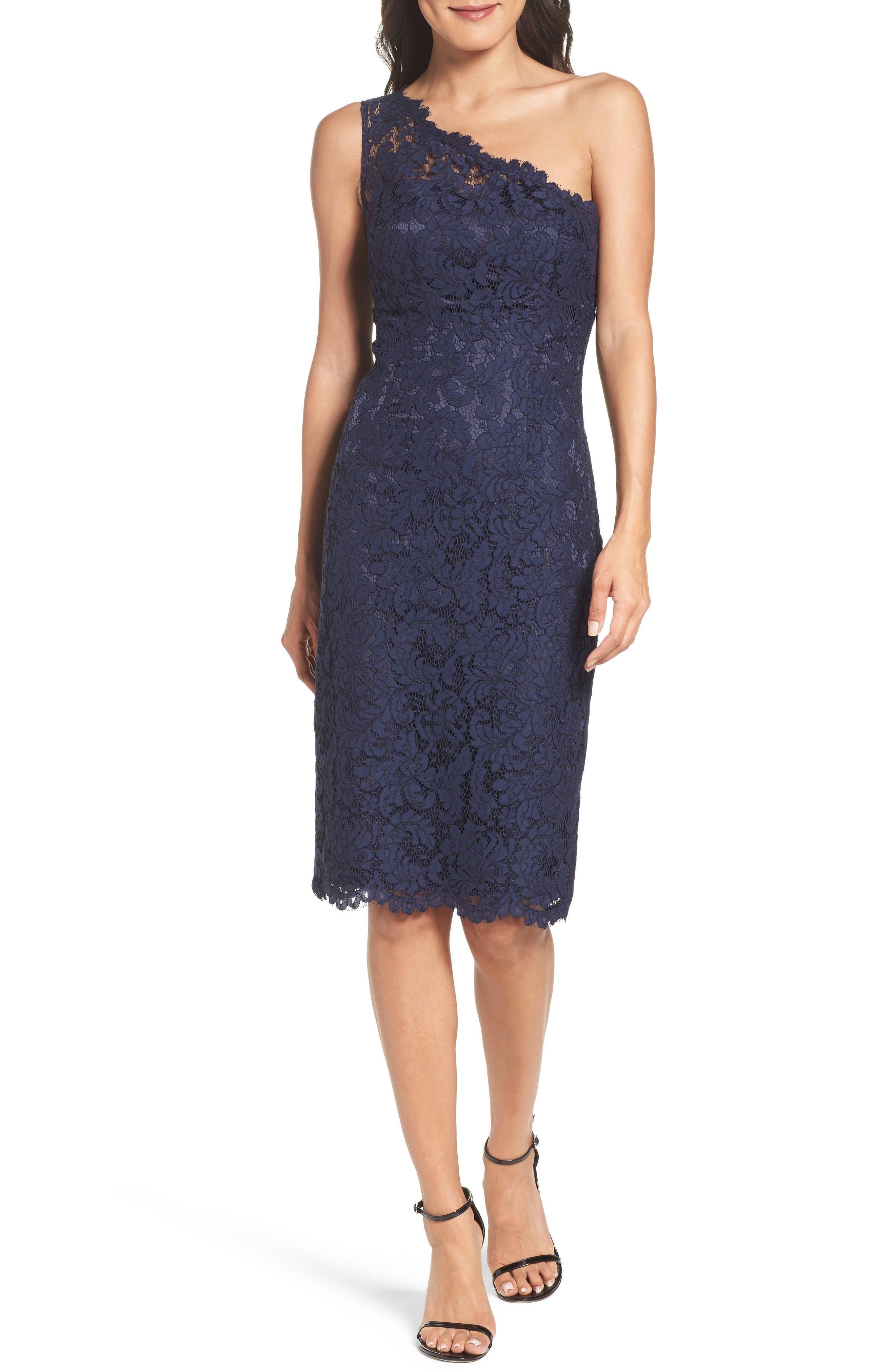 One-Shoulder Lace Dress,                         Main,                         color, Navy