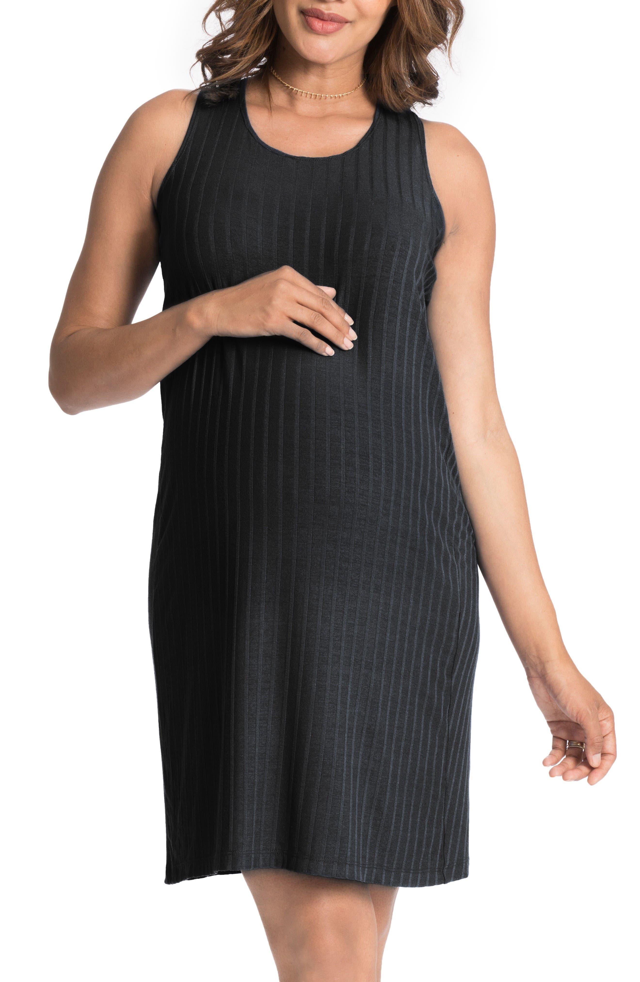 Convertible Maternity Shift Dress,                             Alternate thumbnail 3, color,                             Black
