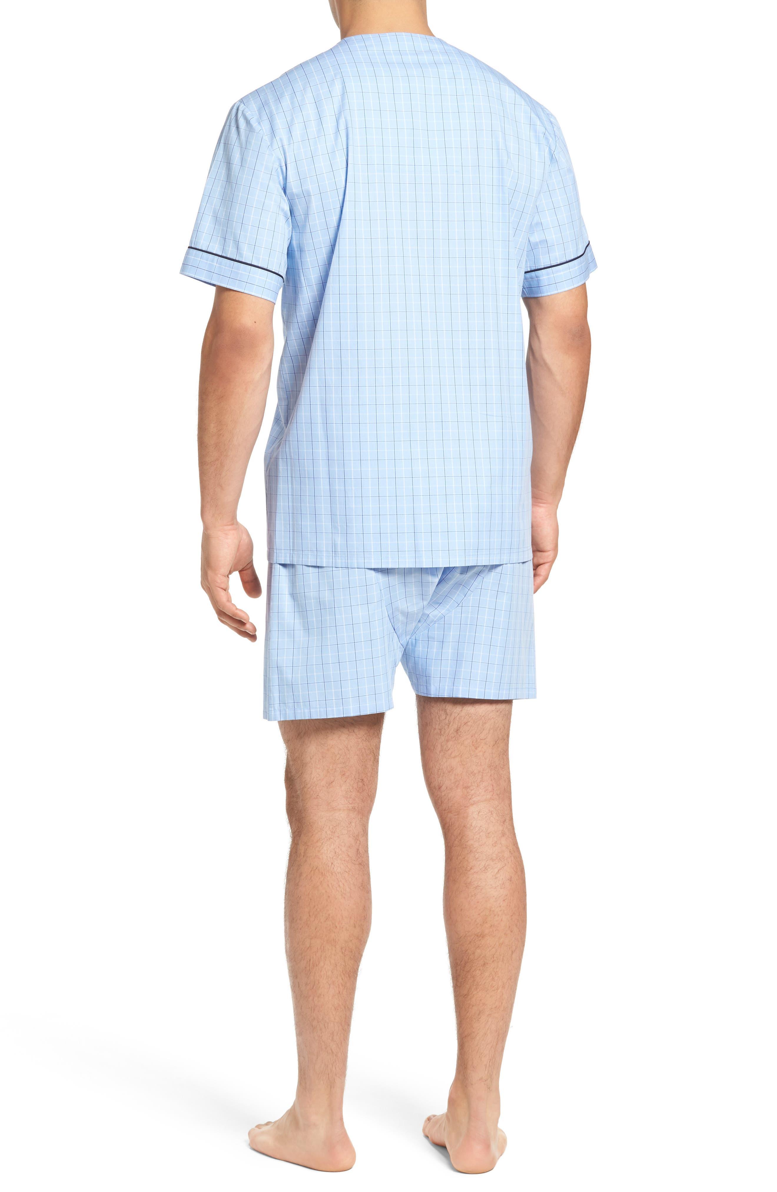 Cotton Short Pajamas,                             Alternate thumbnail 2, color,                             Light Blue Check