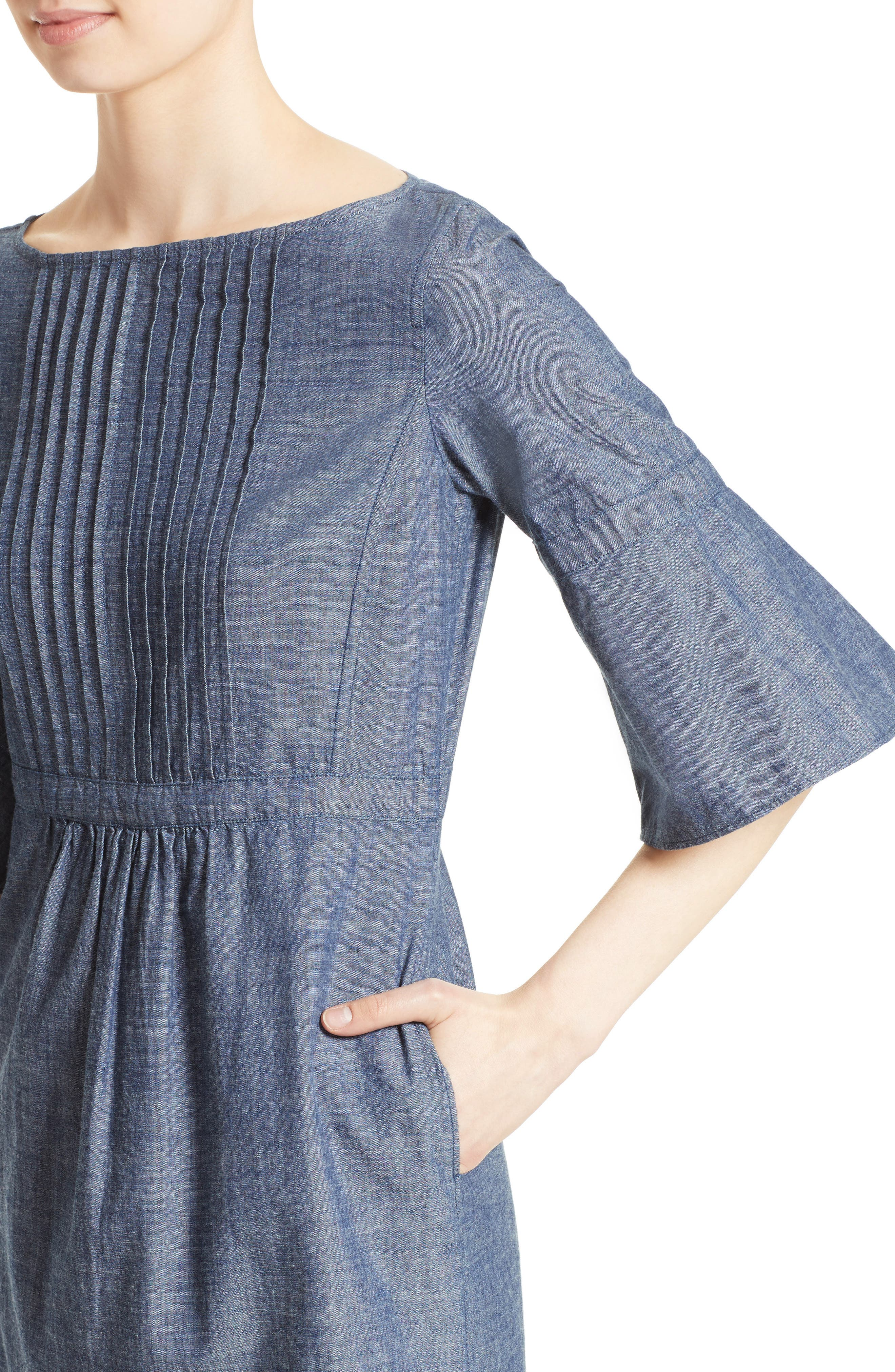 Alternate Image 6  - Burberry Michelle Bell Sleeve Chambray Dress