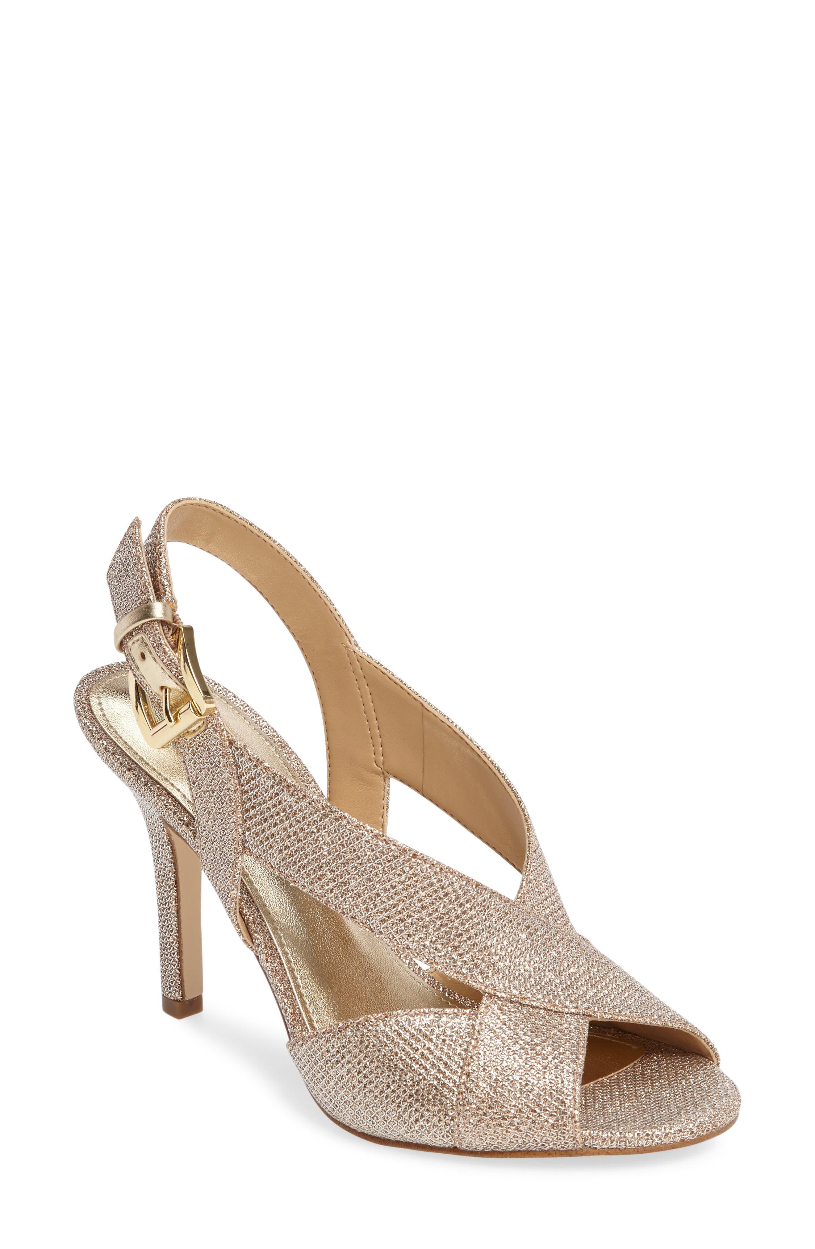 Becky Glitter Crisscross Slingback Sandals in White/ Silver/ Sand Suede