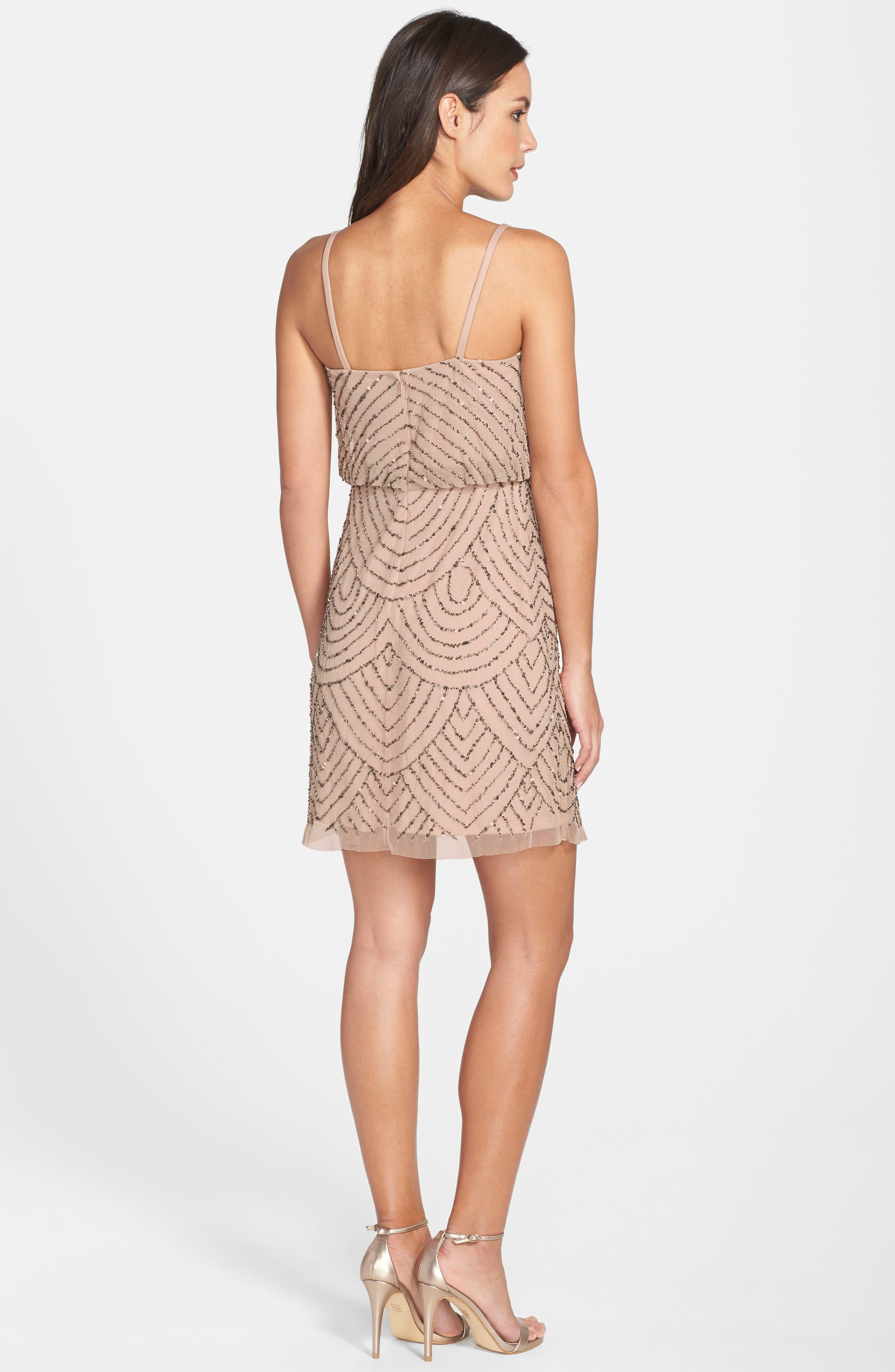 Sequin Mesh Blouson Dress,                             Alternate thumbnail 2, color,                             Taupe/ Pink