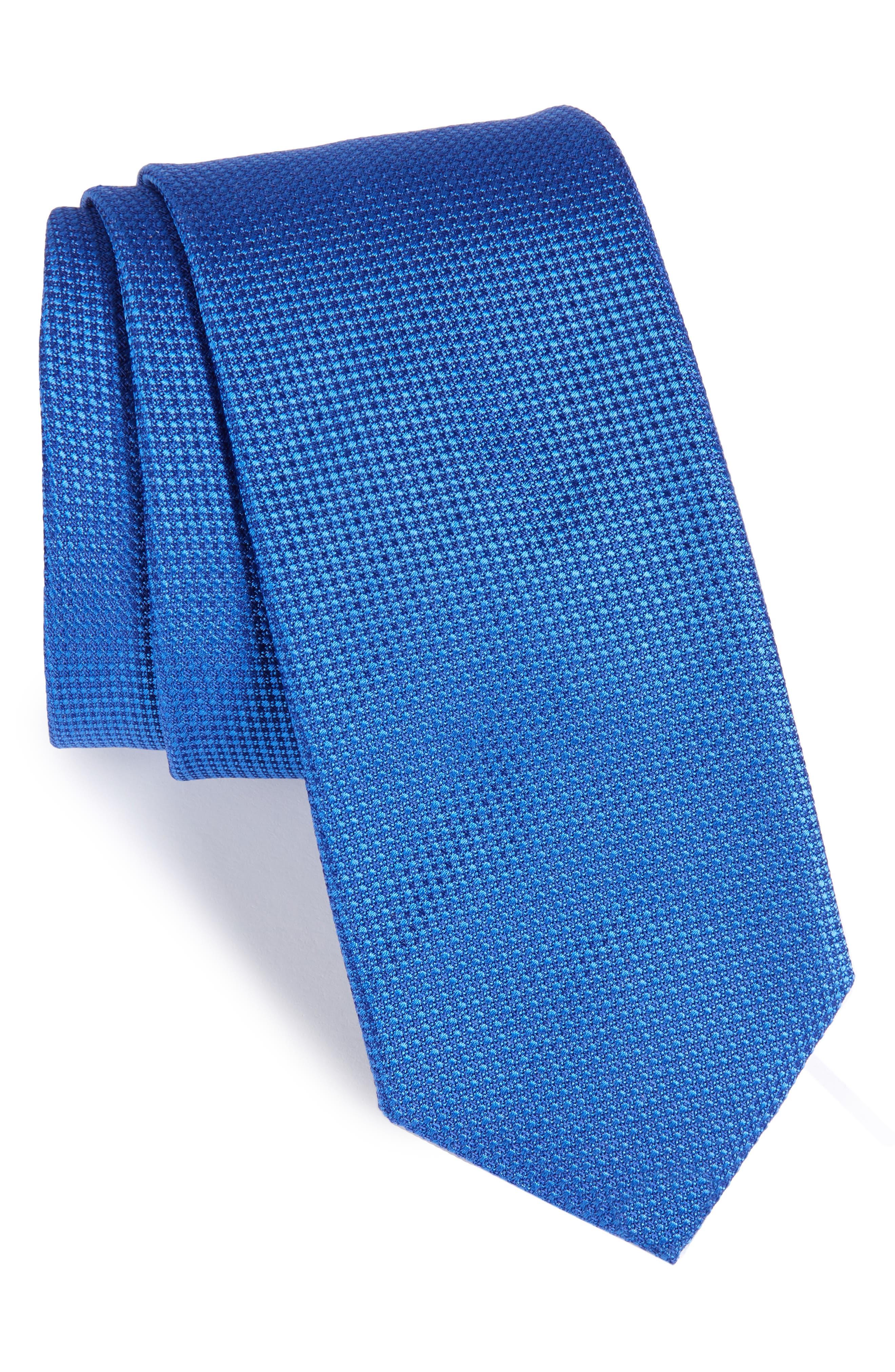 Solid Silk Tie,                         Main,                         color, Medium Blue