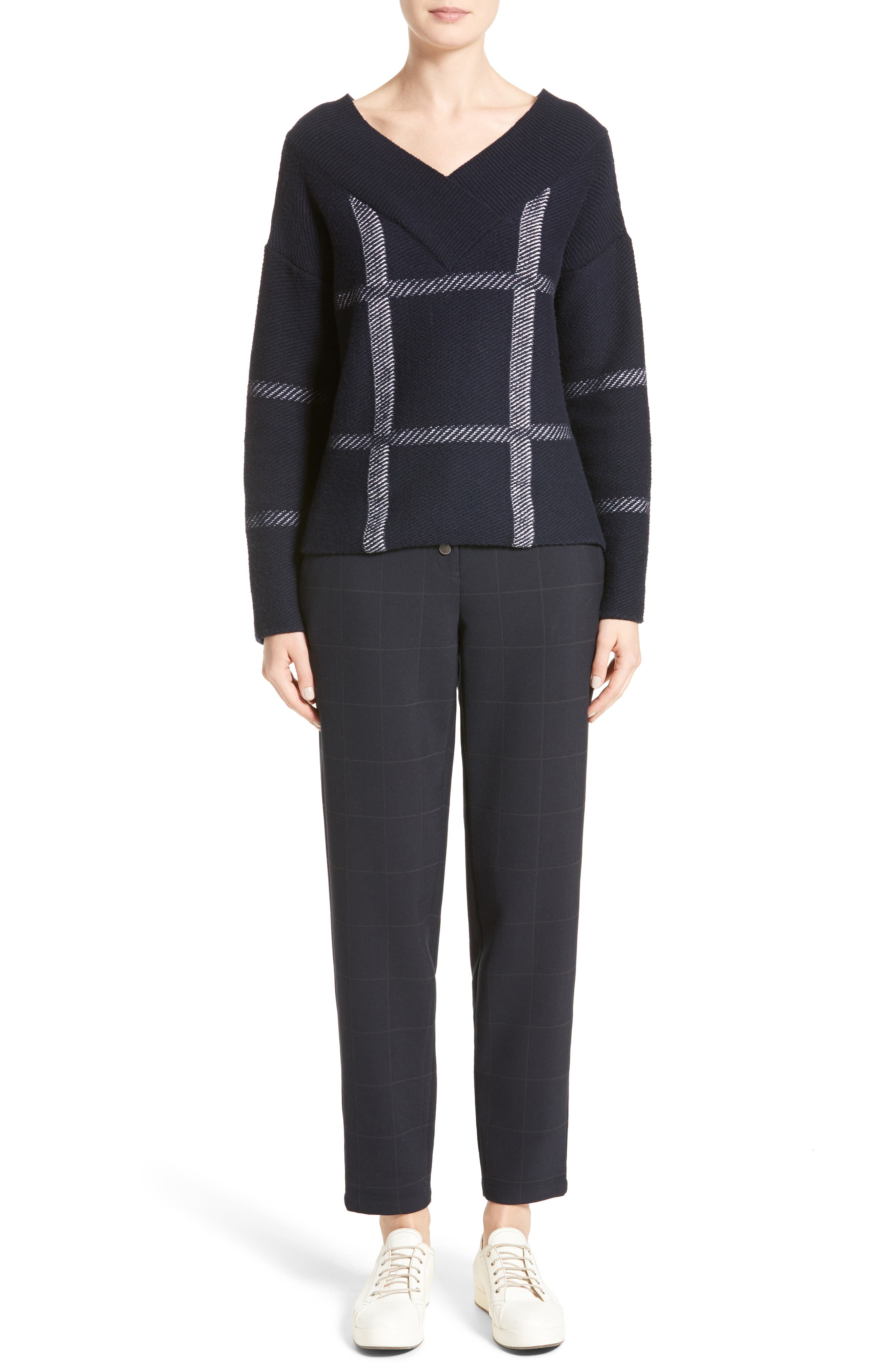 Windowpane Wool & Cashmere Sweater,                             Alternate thumbnail 7, color,                             Navy Multi