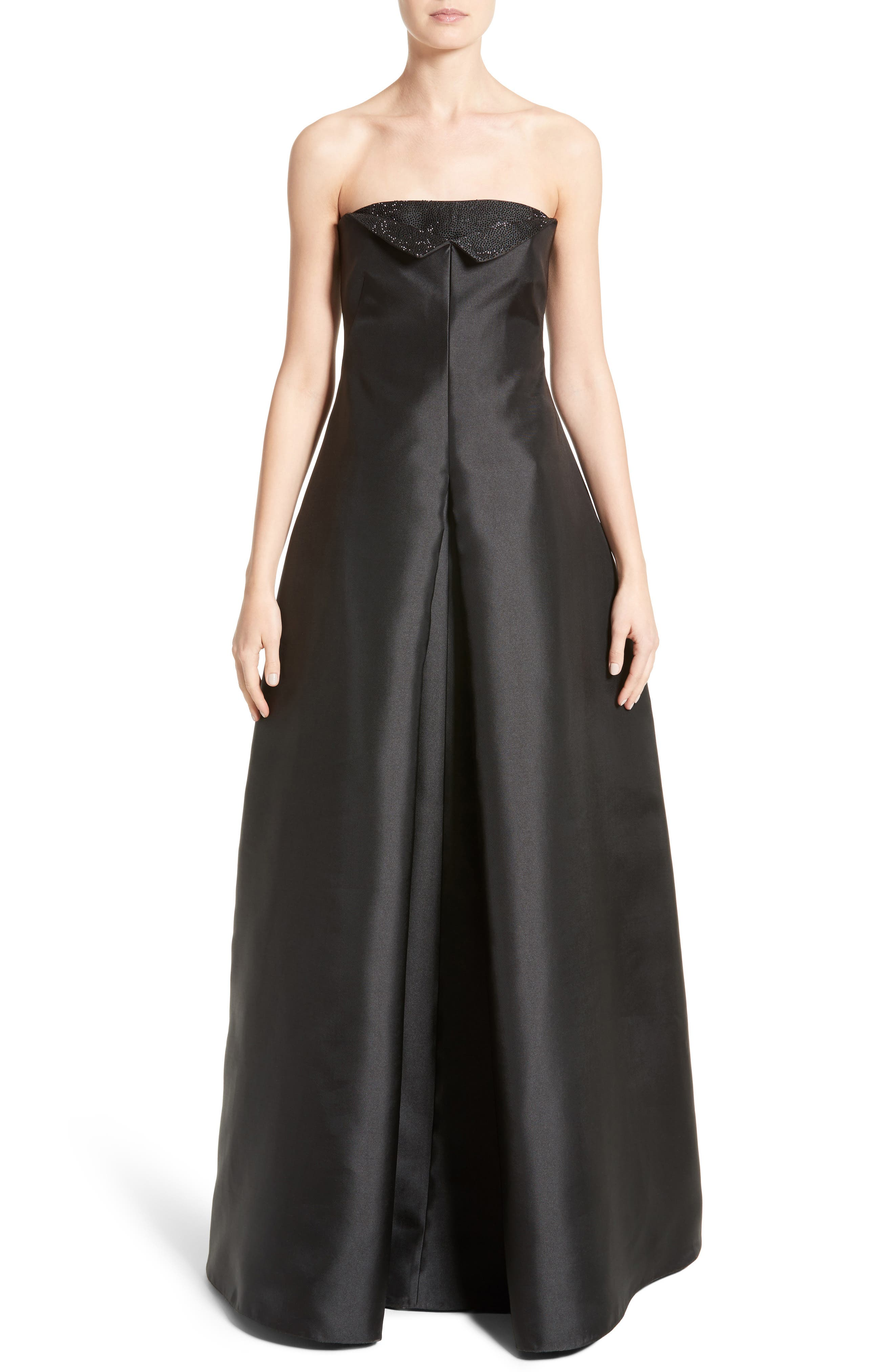 Main Image - Armani Collezioni Crystal Embellished Gazar Strapless Gown