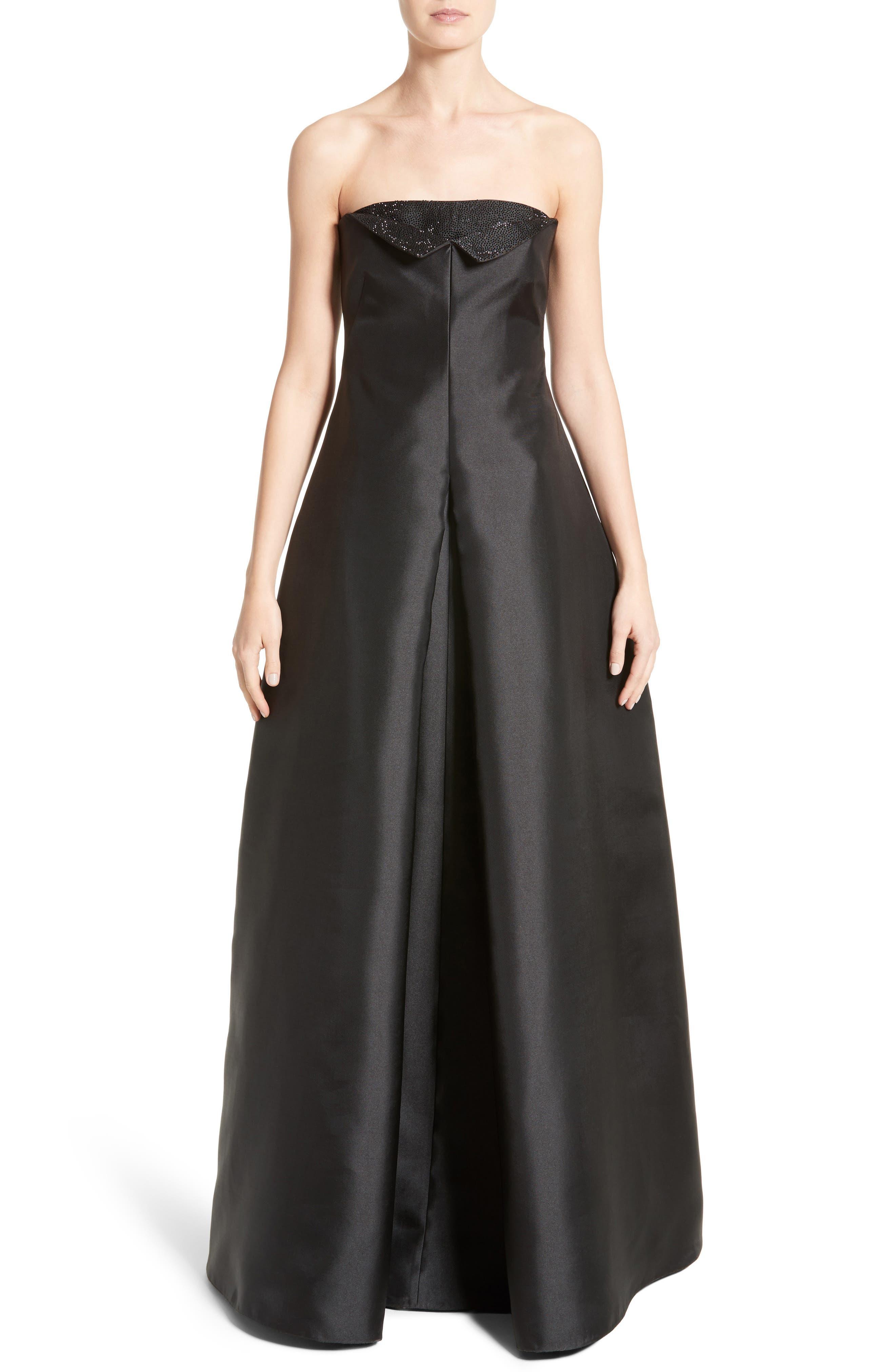 Crystal Embellished Gazar Strapless Gown,                         Main,                         color, Black