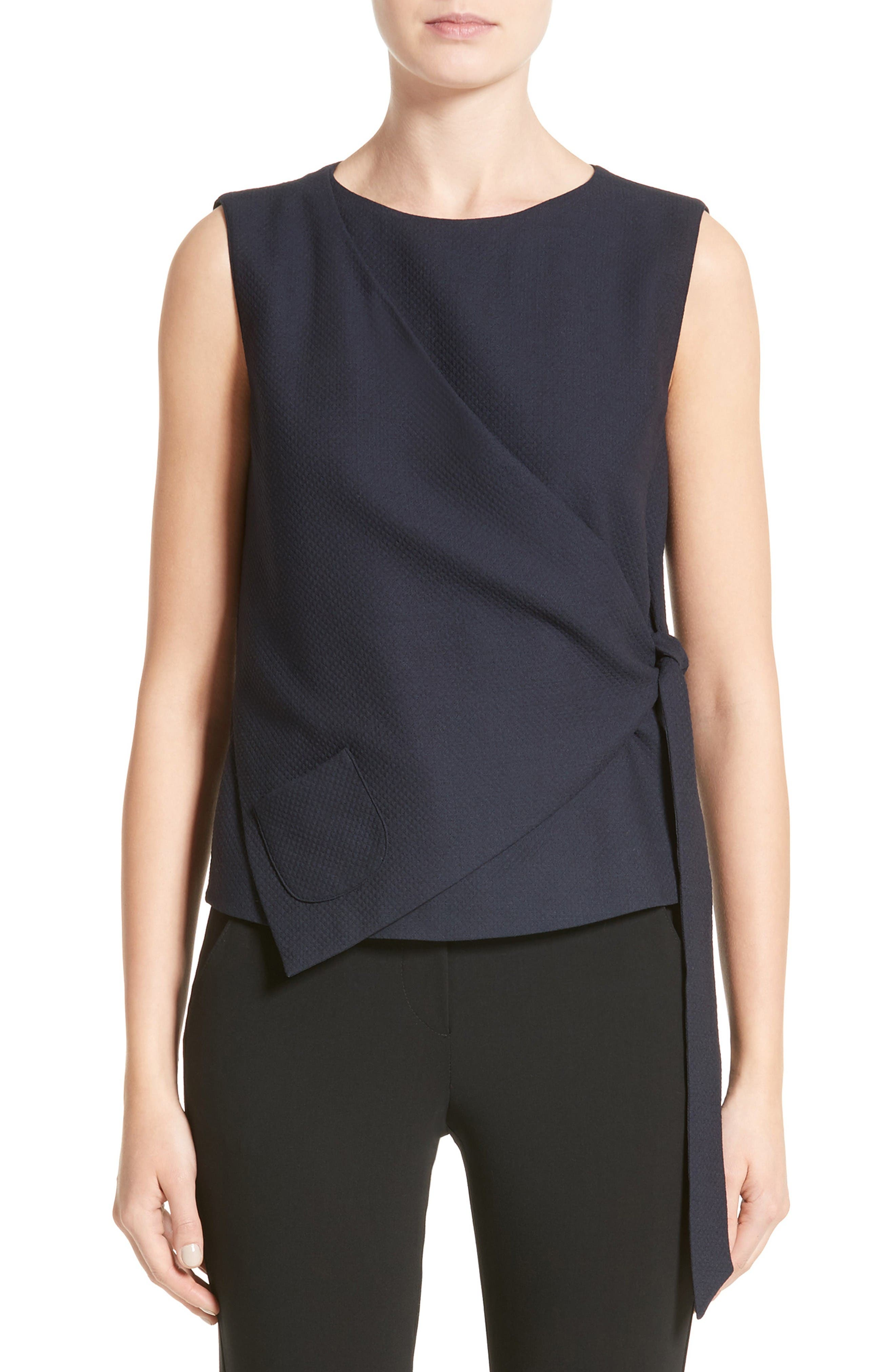 Side Tie Gilet,                         Main,                         color, Midnight