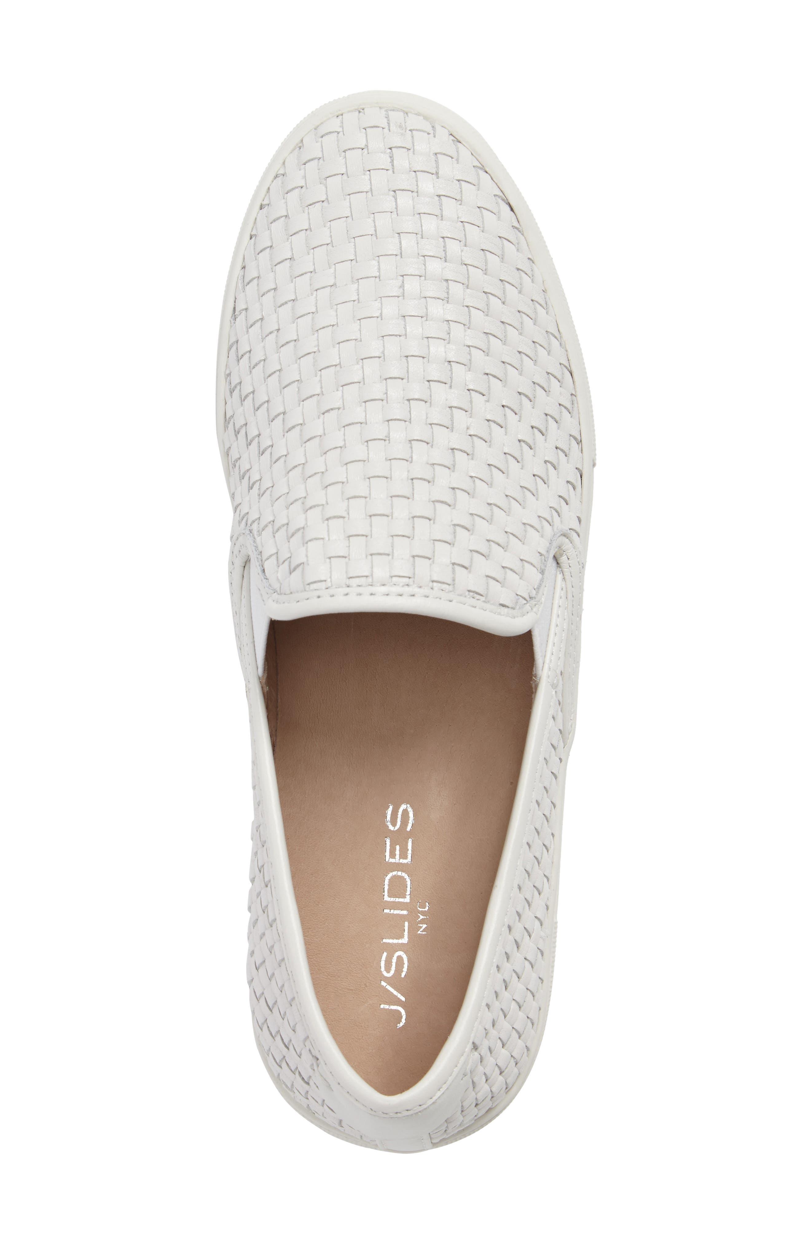 Alyssa Platform Slip-On Sneaker,                             Alternate thumbnail 5, color,                             White Leather
