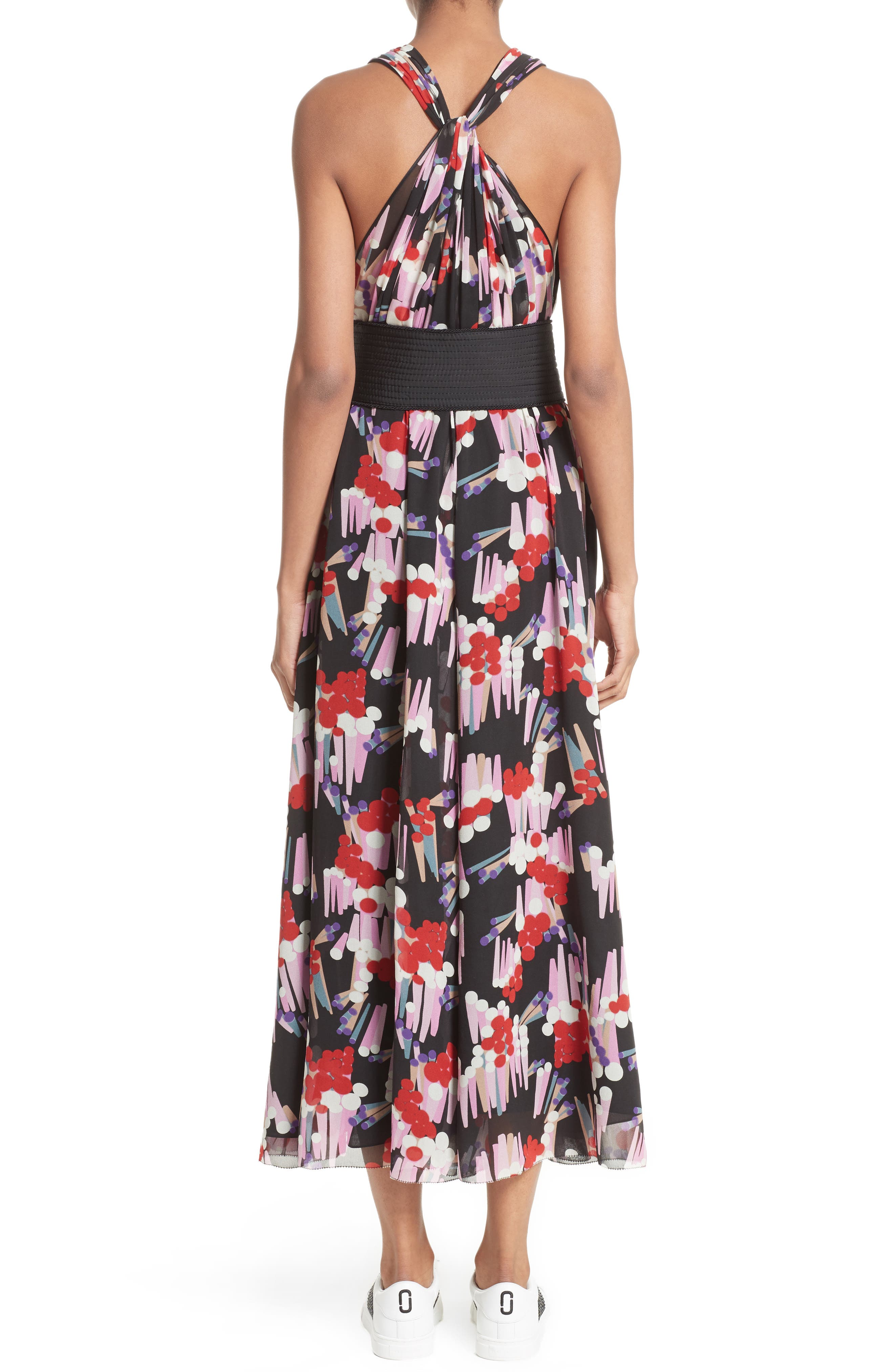 Print Silk Midi Dress,                             Alternate thumbnail 2, color,                             Black Multi