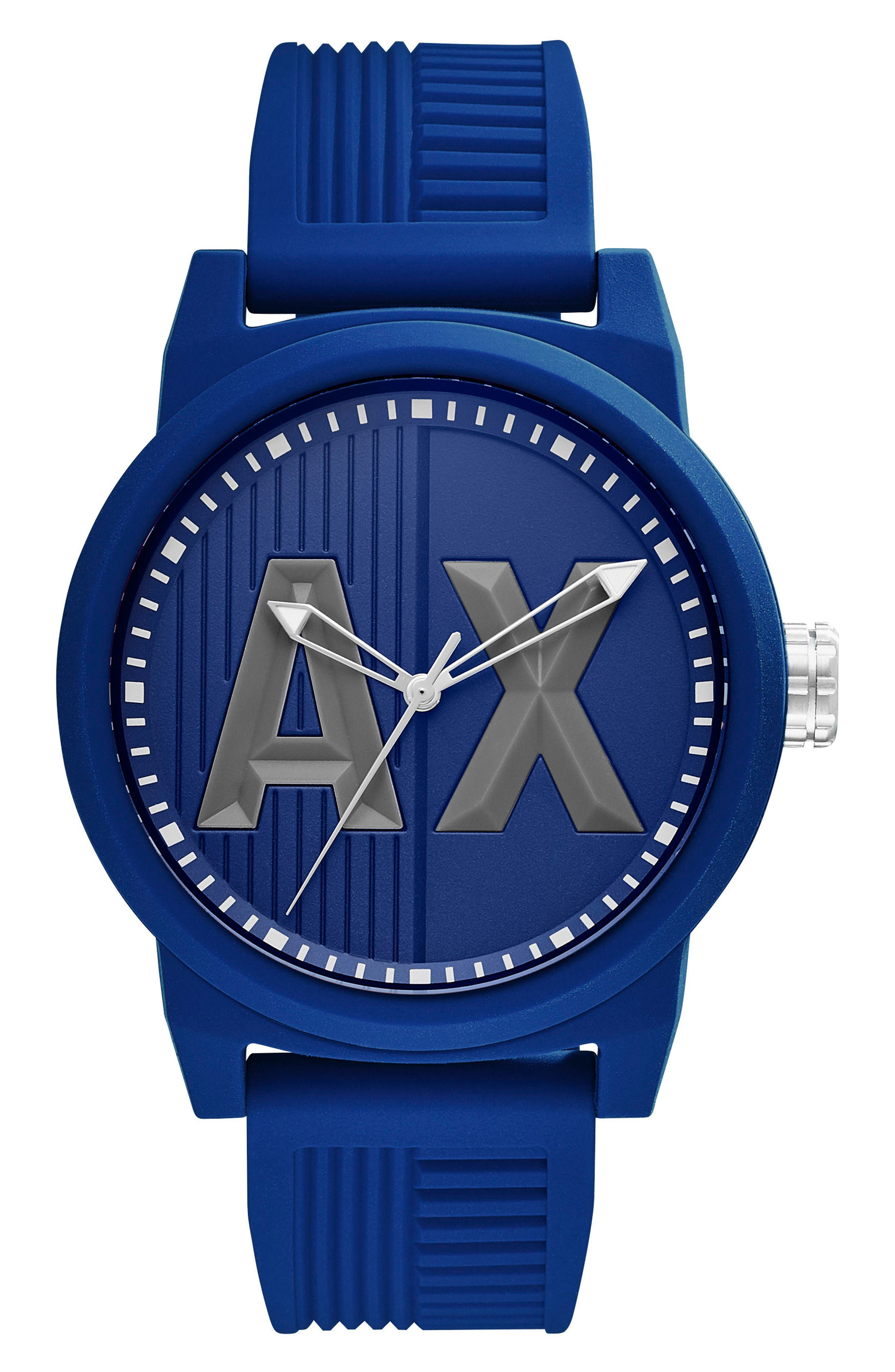 ATLC Logo Silicone Strap Watch, 46mm,                             Main thumbnail 1, color,                             Blue/ Blue