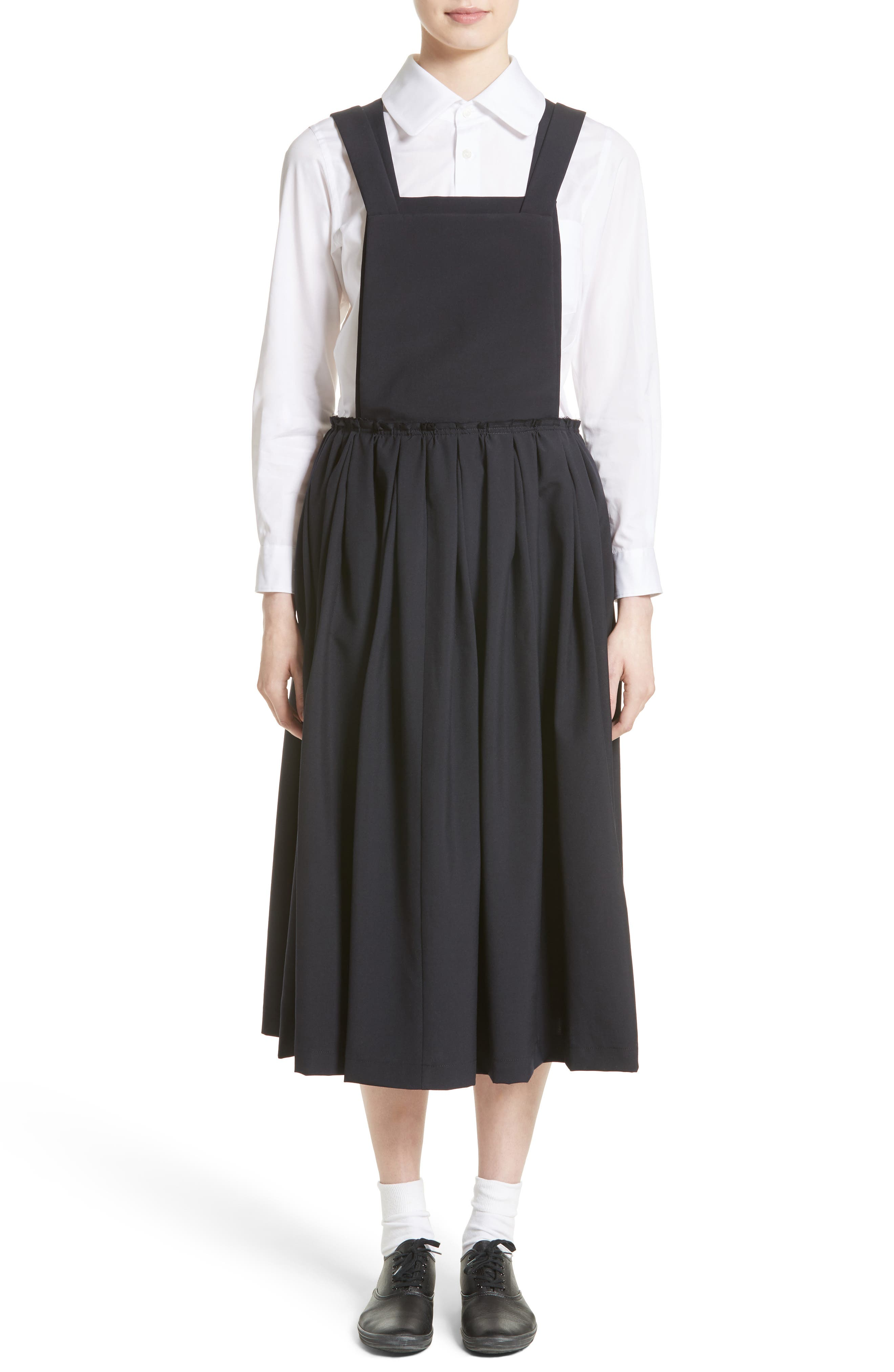 Tropical Wool Overall Dress,                             Alternate thumbnail 8, color,                             Navy