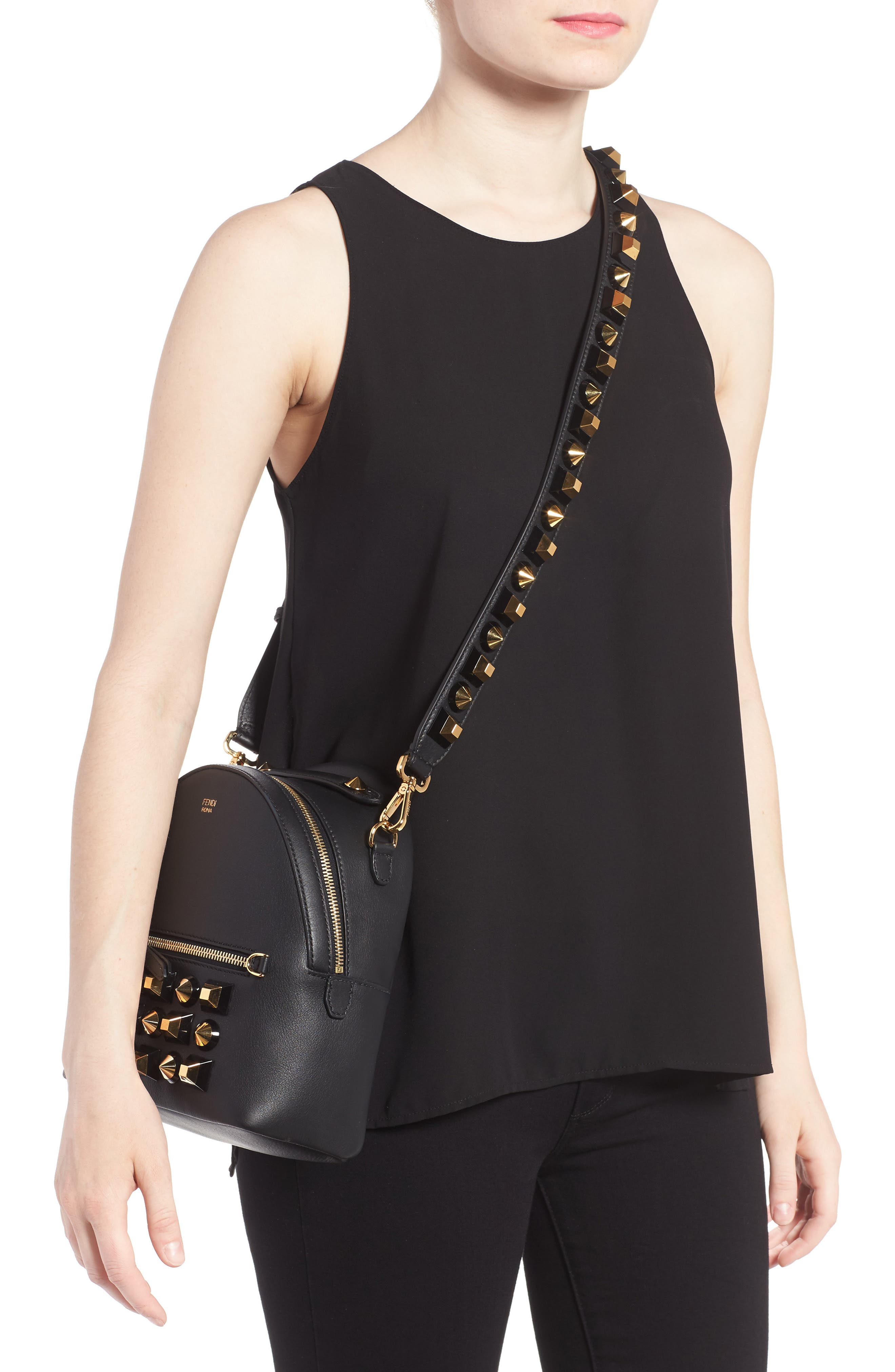 Alternate Image 2  - Fendi Mini Studded Leather Backpack