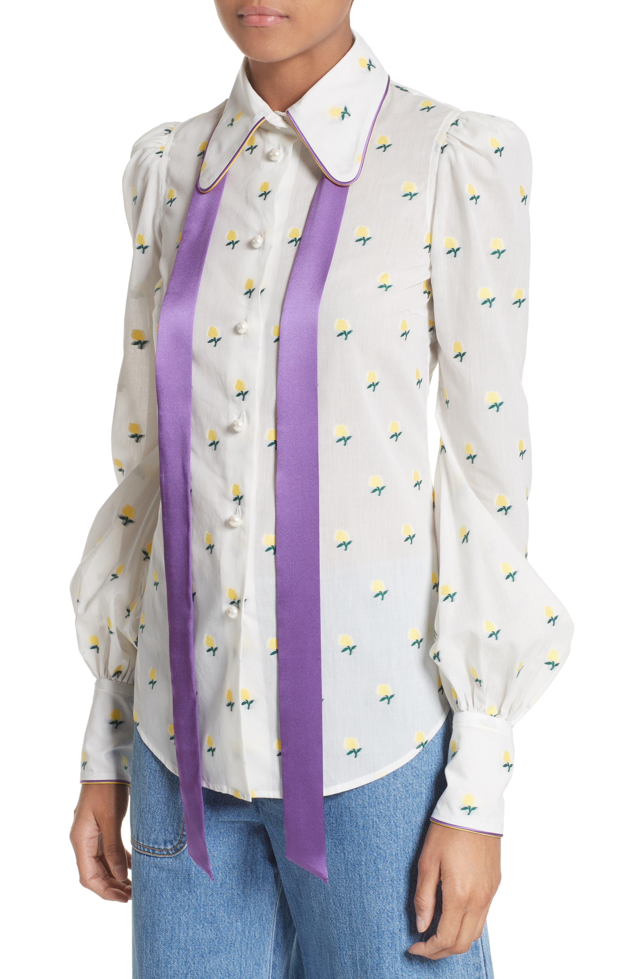 Rose Fil Coupé Bishop Sleeve Blouse,                             Alternate thumbnail 8, color,                             White Multi