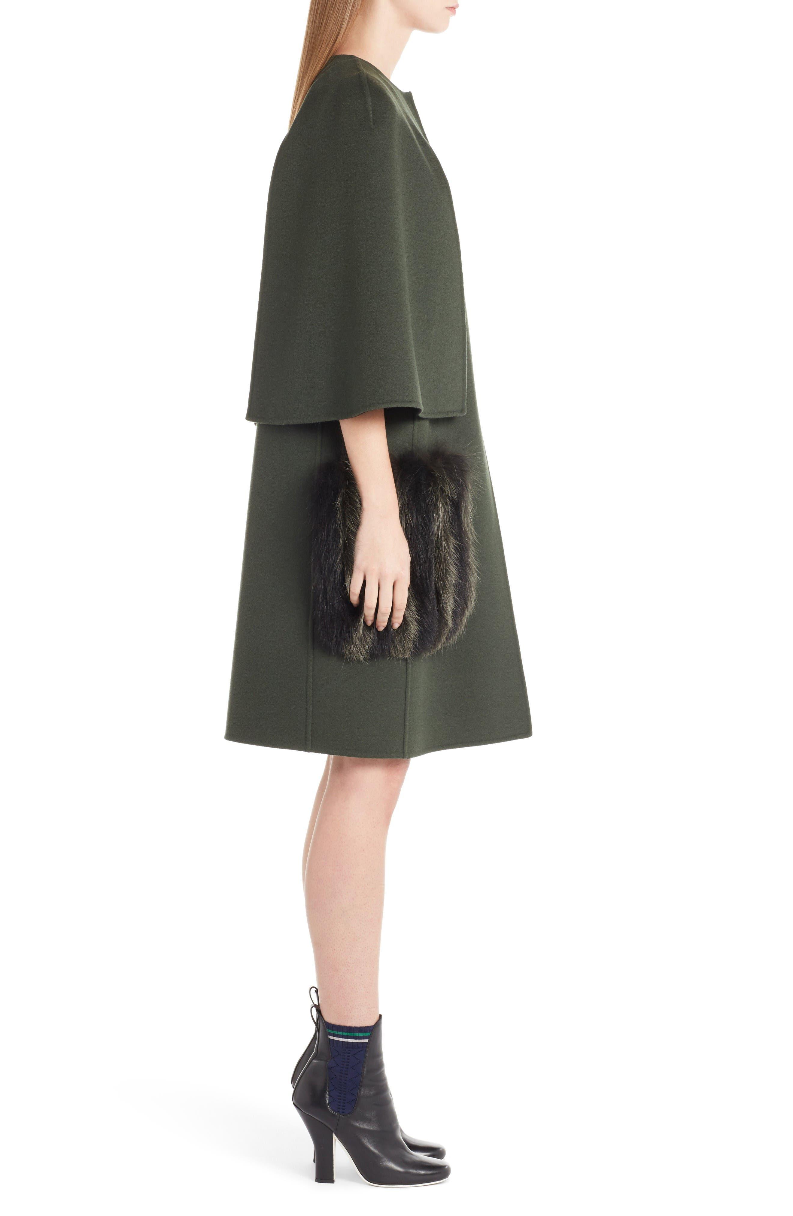 Alternate Image 4  - Fendi Wool Cape Coat with Genuine Fox Fur Pockets