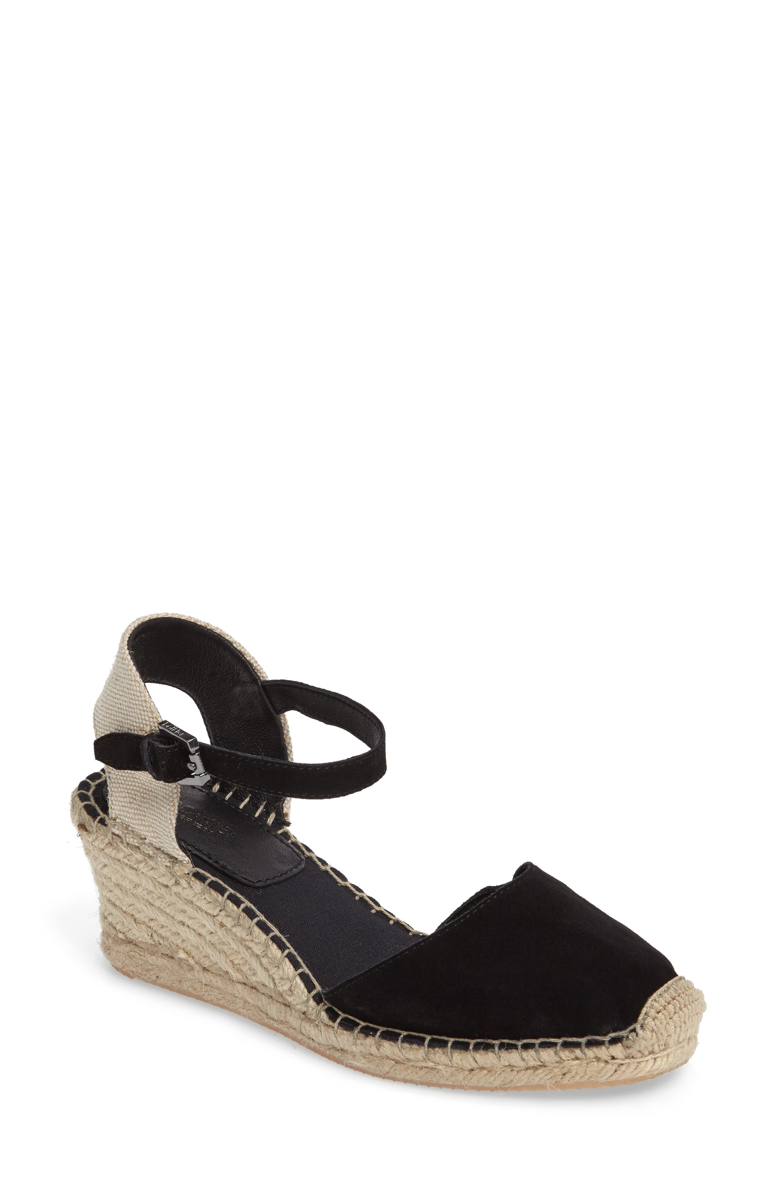 Elia Espadrille Wedge Sandal,                         Main,                         color, Black