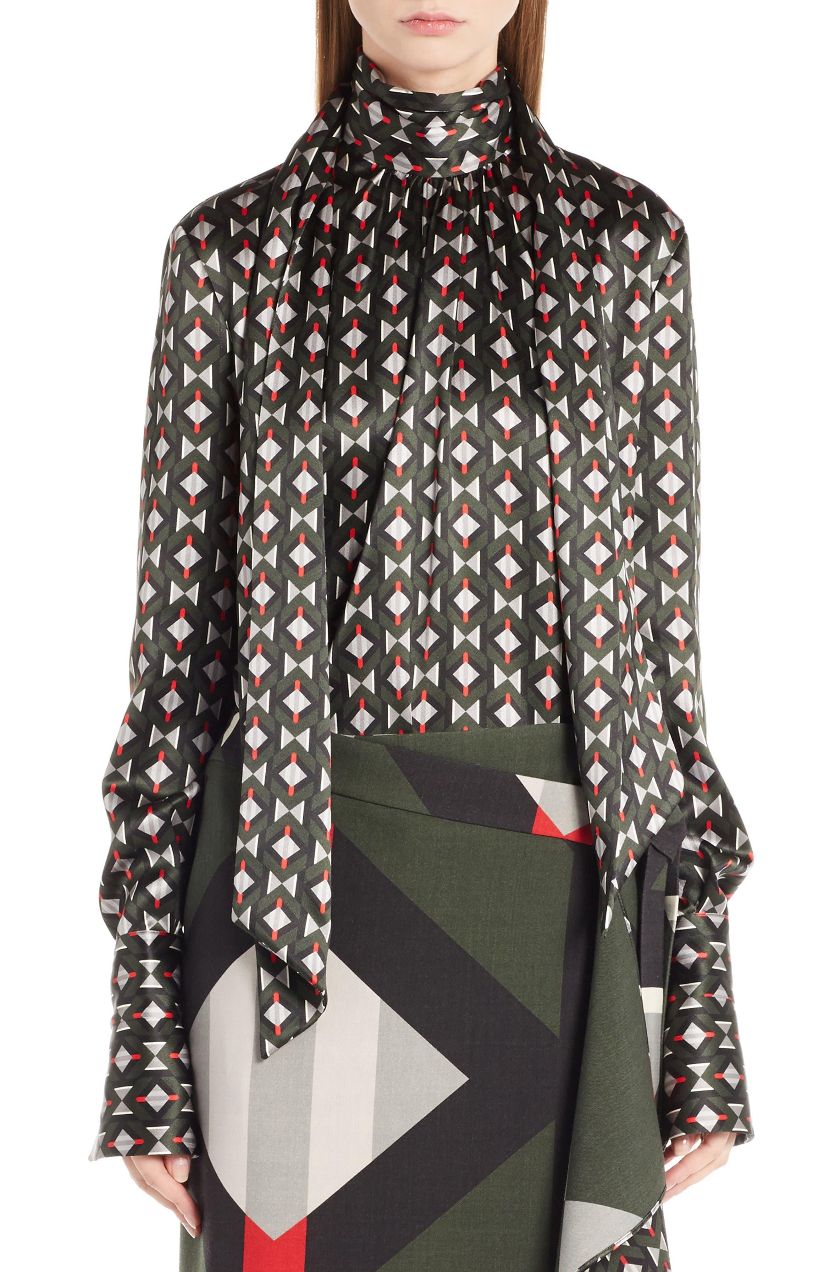 Main Image - Fendi Silk Satin Tie Neck Blouse