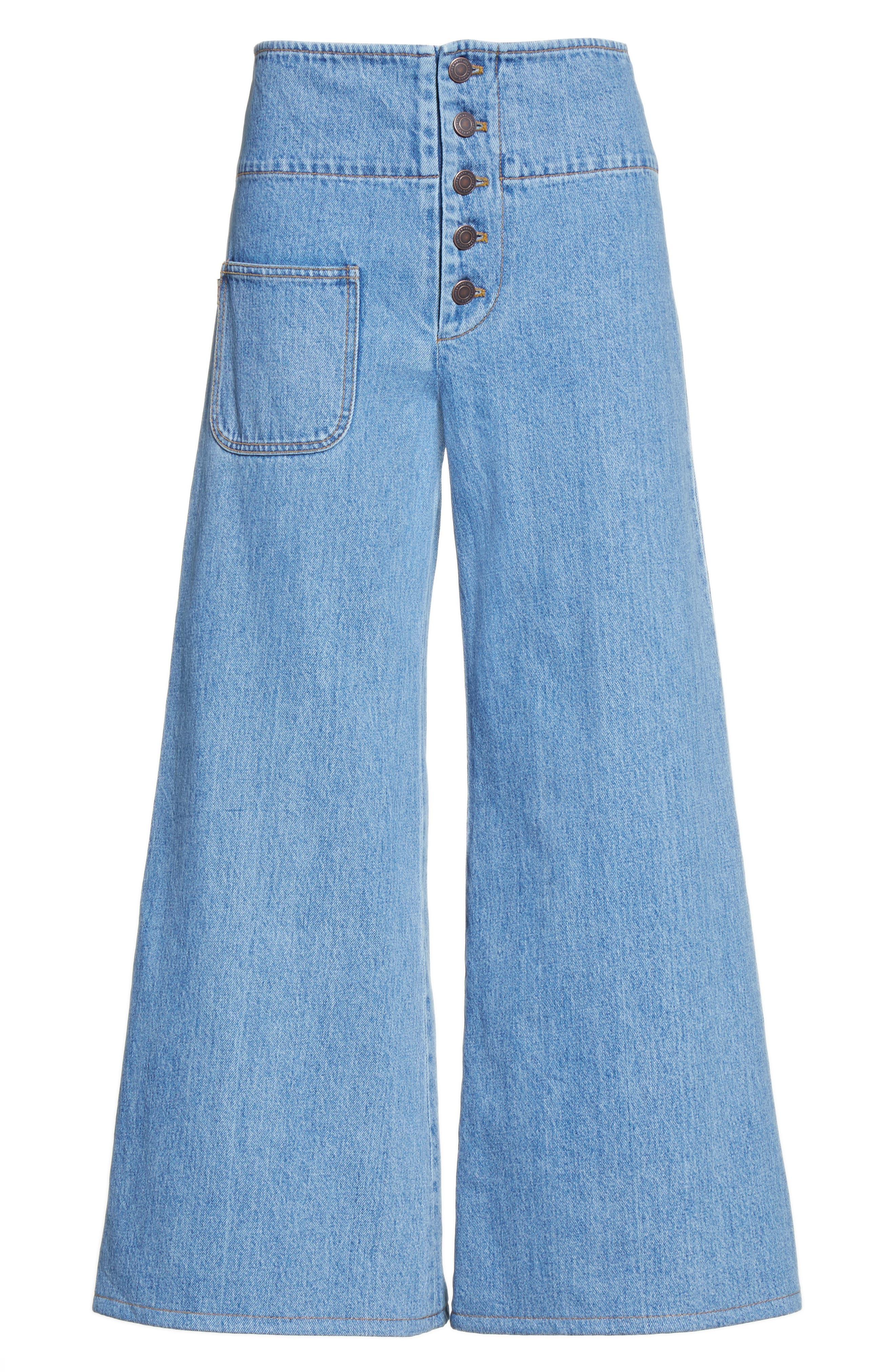 High Waist Crop Flare Jeans,                             Alternate thumbnail 4, color,                             Retro Indigo