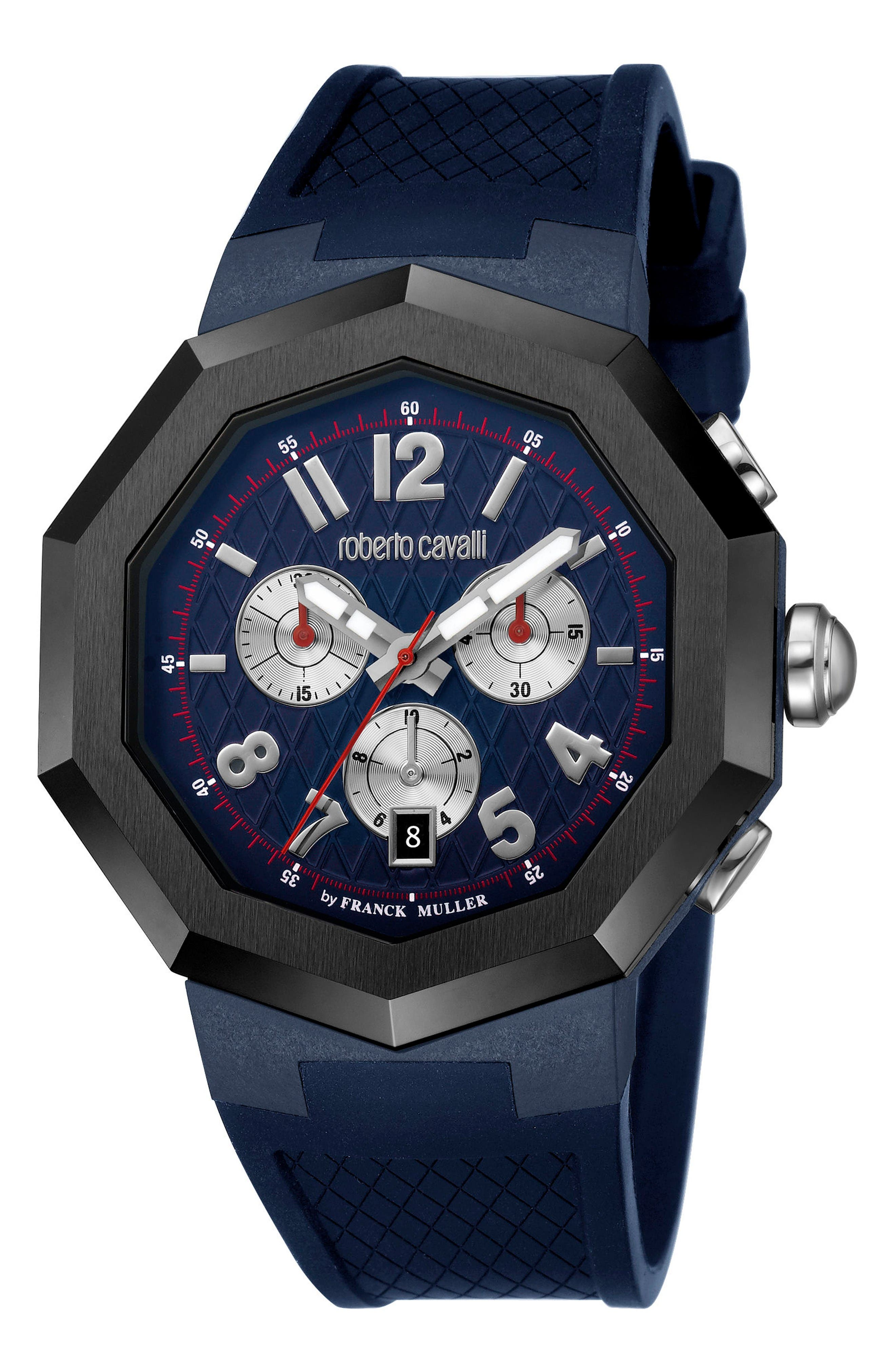 Chronograph Rubber Strap Watch, 45mm,                         Main,                         color, Navy/ Black