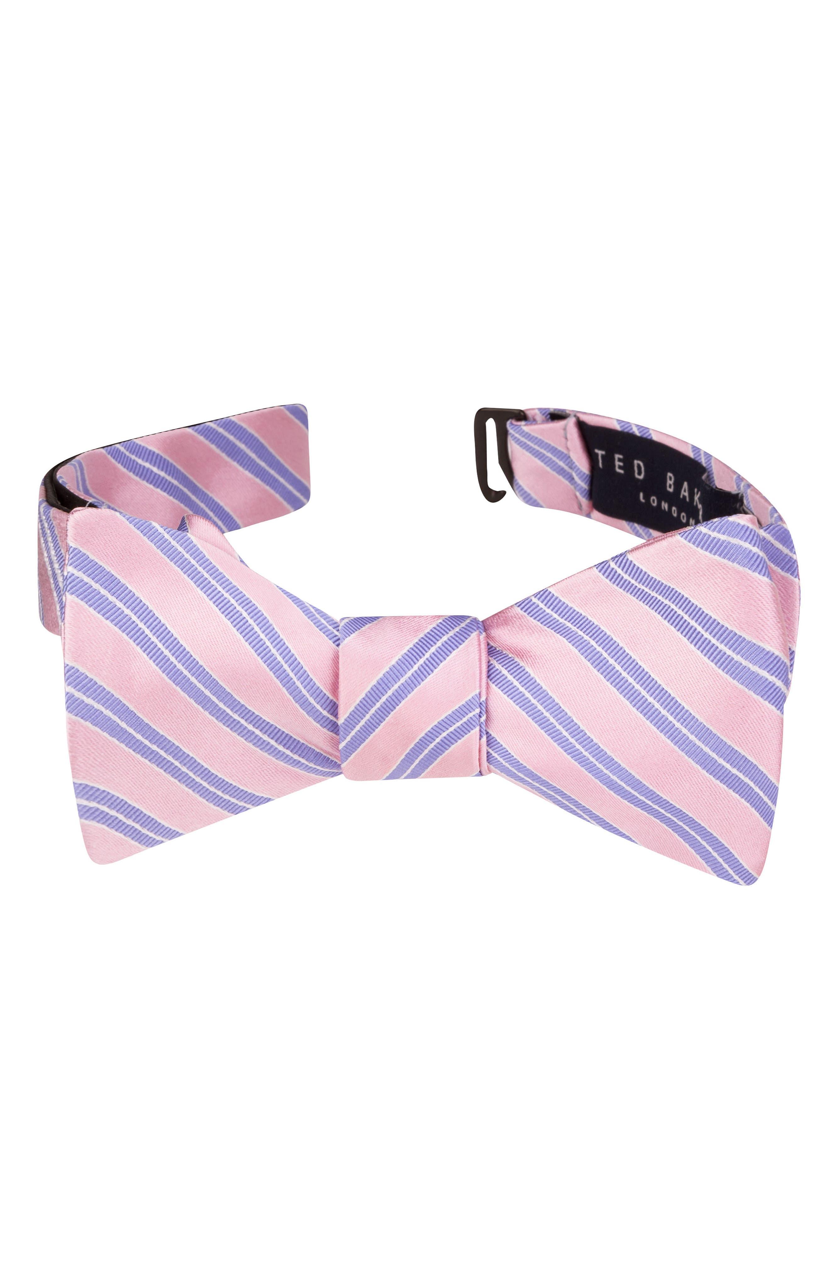 TED BAKER LONDON Stripe Silk & Cotton Bow Tie
