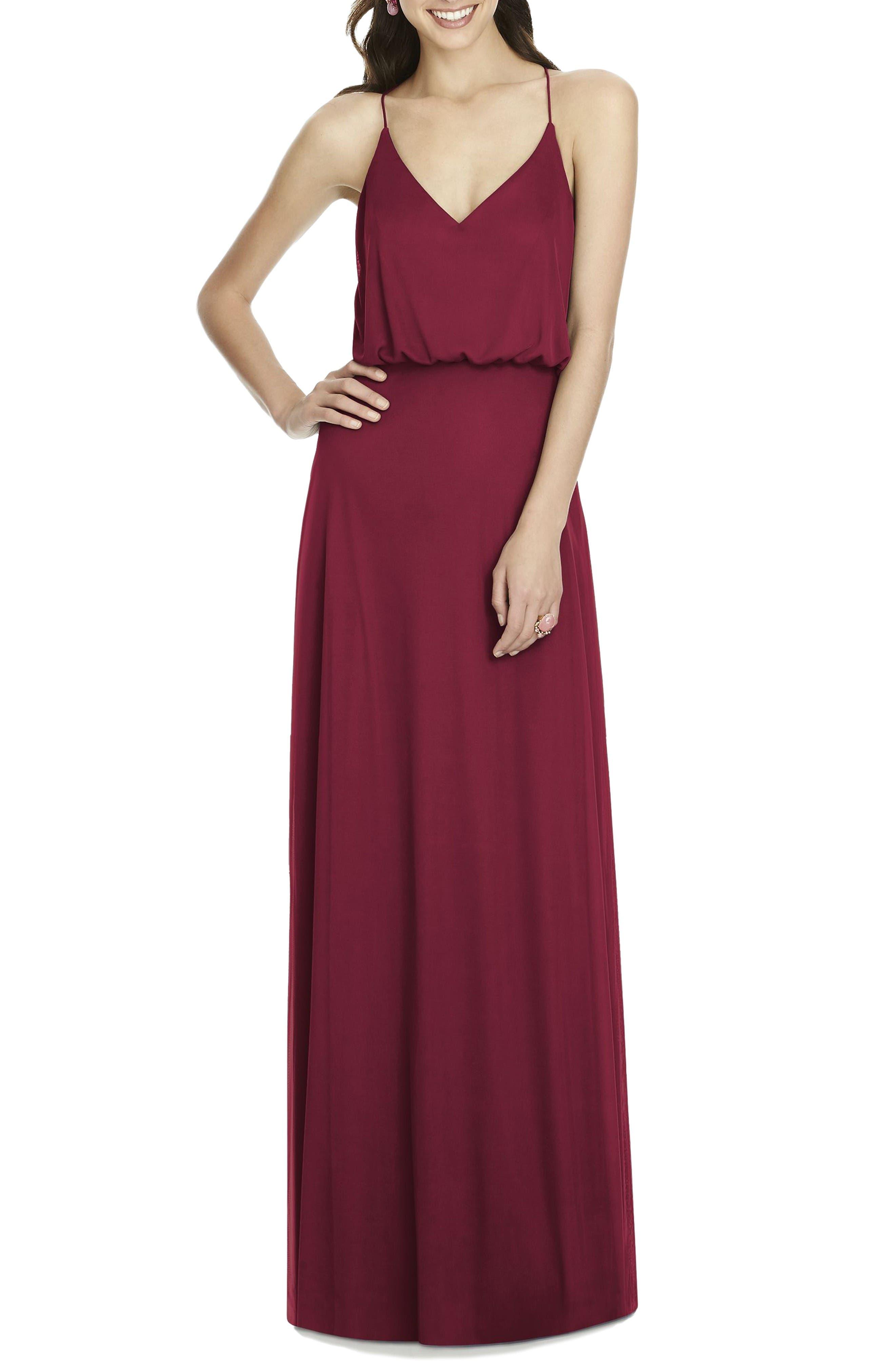 Chiffon Blouson Gown,                             Main thumbnail 1, color,                             Burgundy