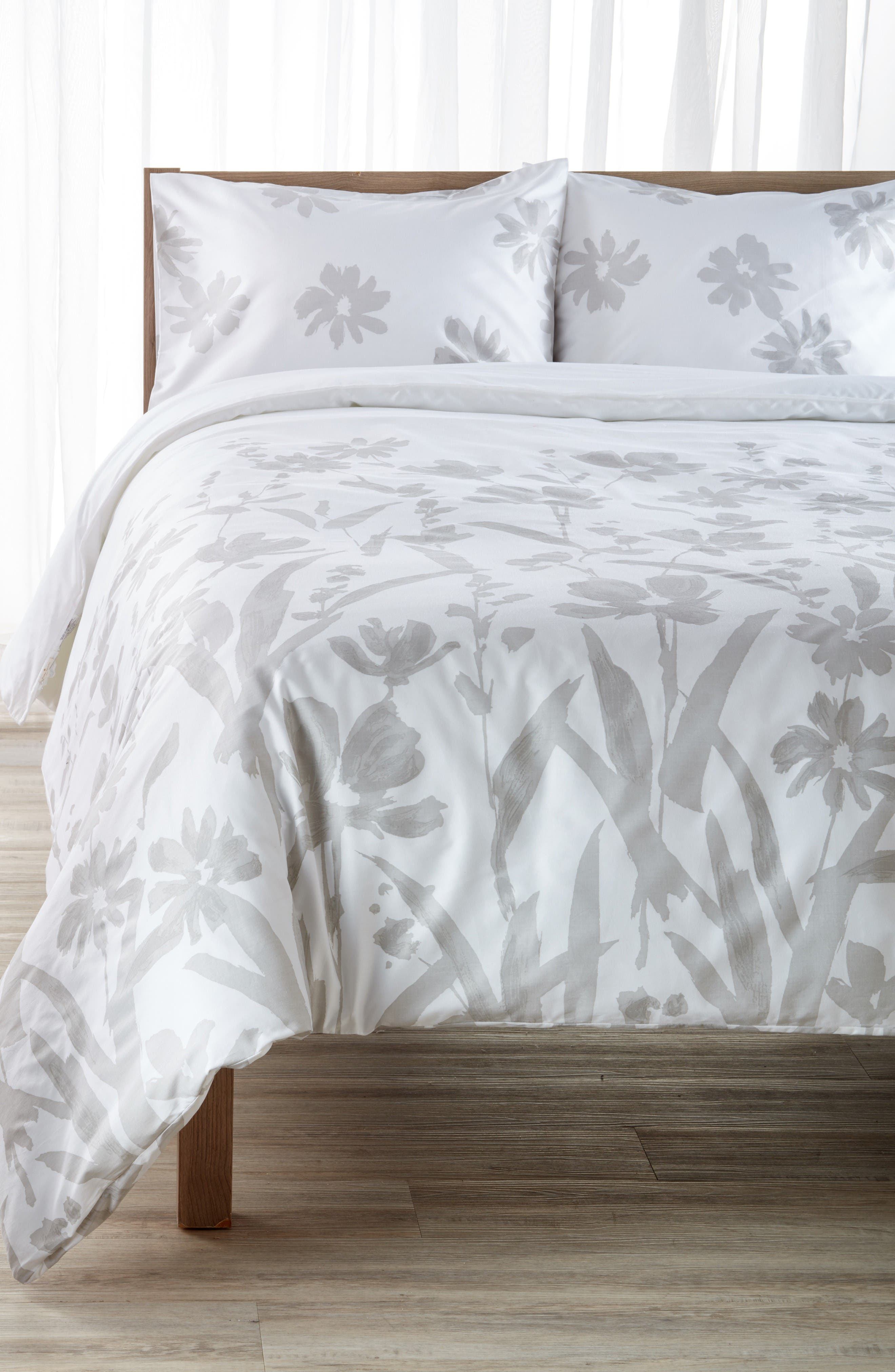 brushstroke garden comforter & sham set,                         Main,                         color, Platinum