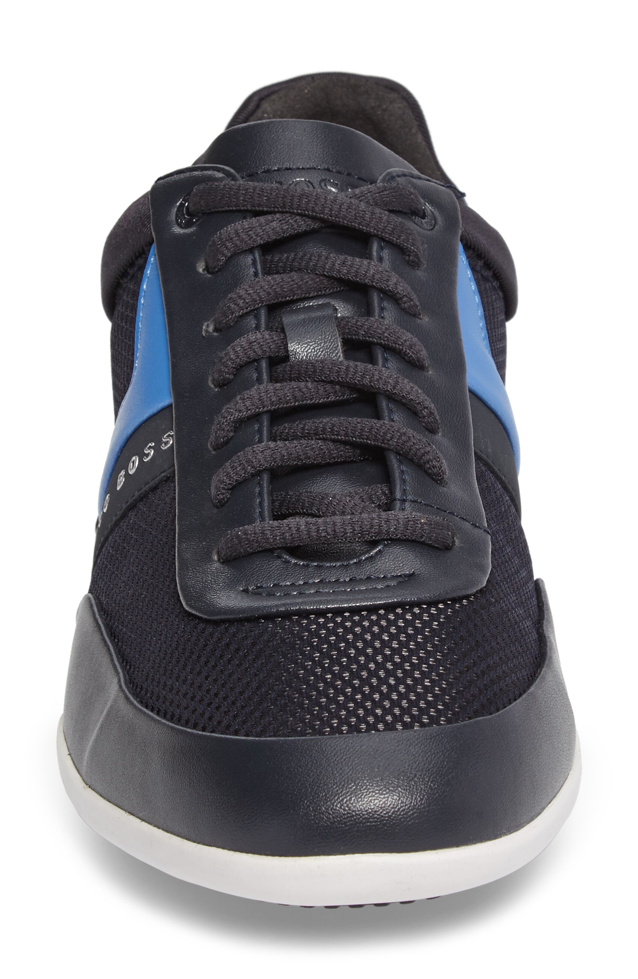 Green Space Mesh Sneaker,                             Alternate thumbnail 4, color,                             Dark Blue Leather