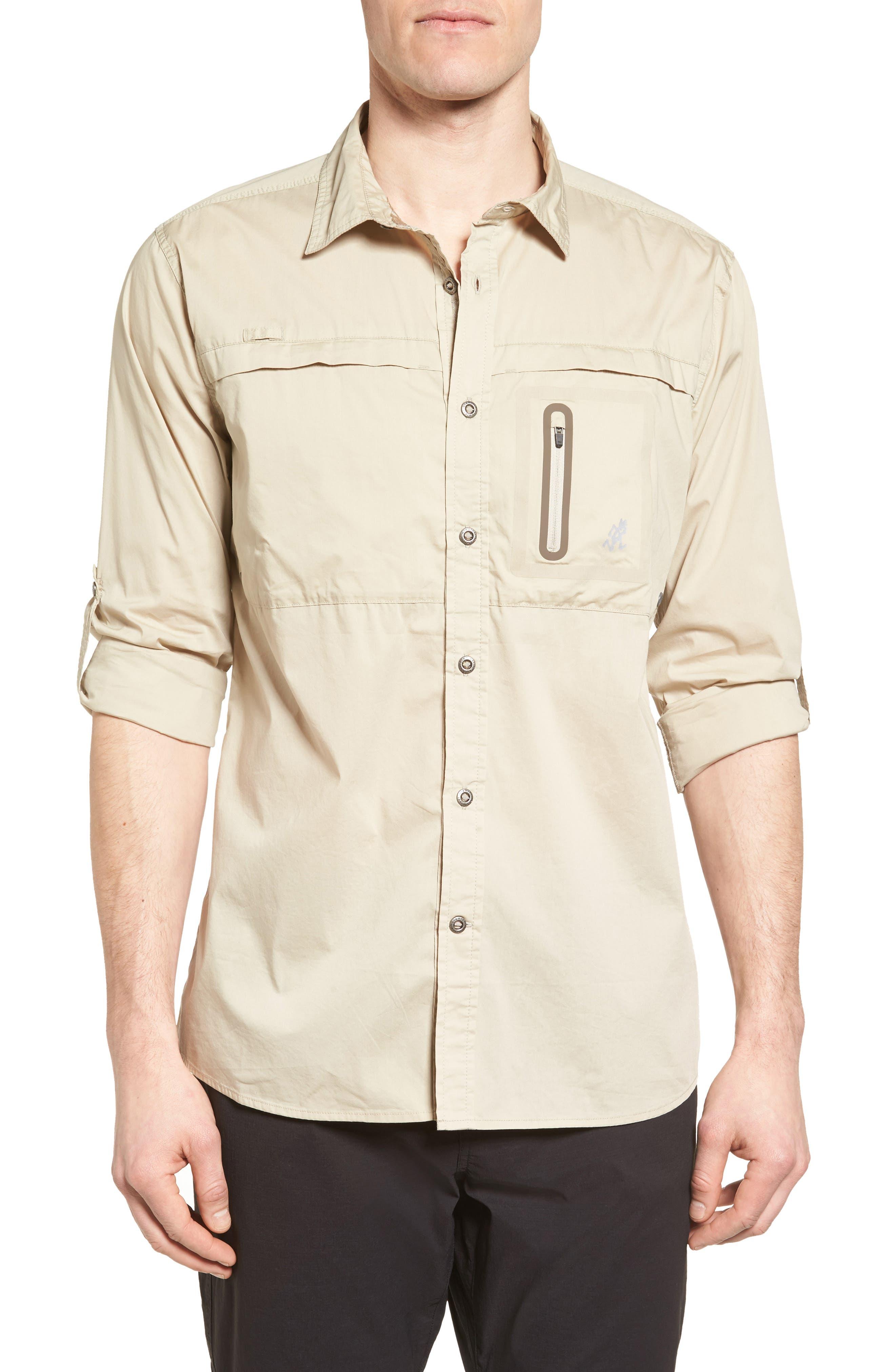 NO-Squito Regular Fit Travel Shirt,                         Main,                         color, True Khaki