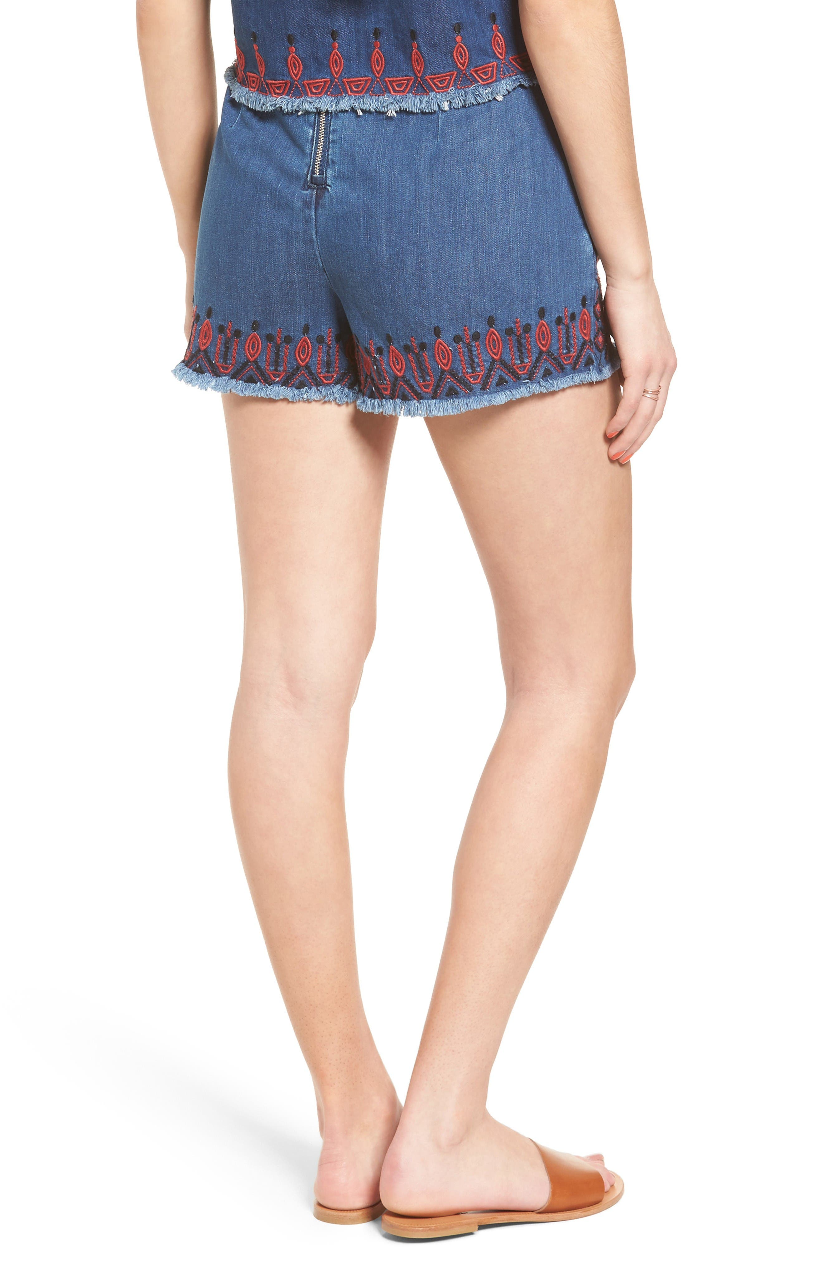Alternate Image 2  - BLANKNYC Embroidered Denim Shorts (Wild Ones)