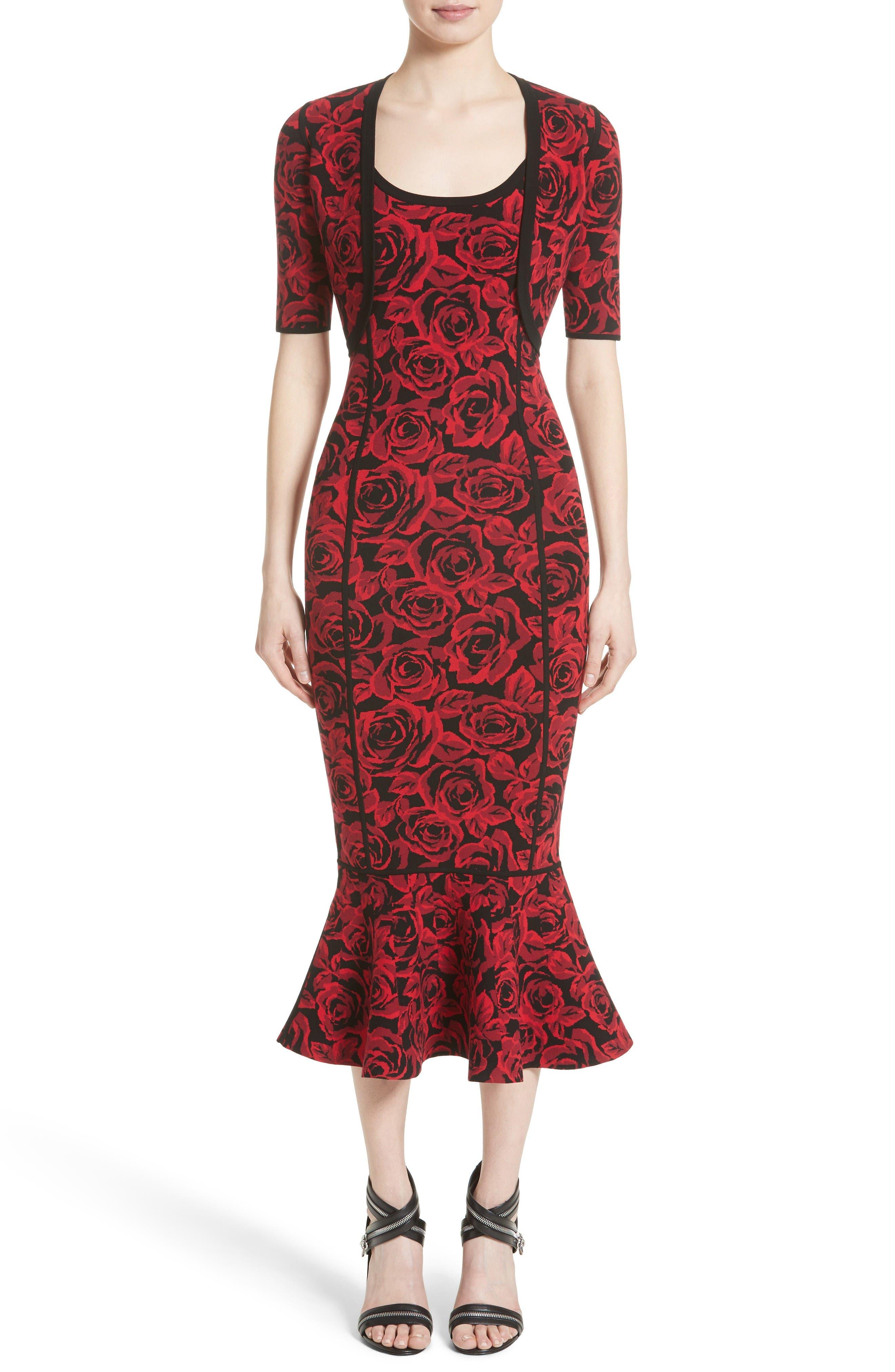 Rose Stretch Jacquard Shrug,                         Main,                         color, Crimson/ Black