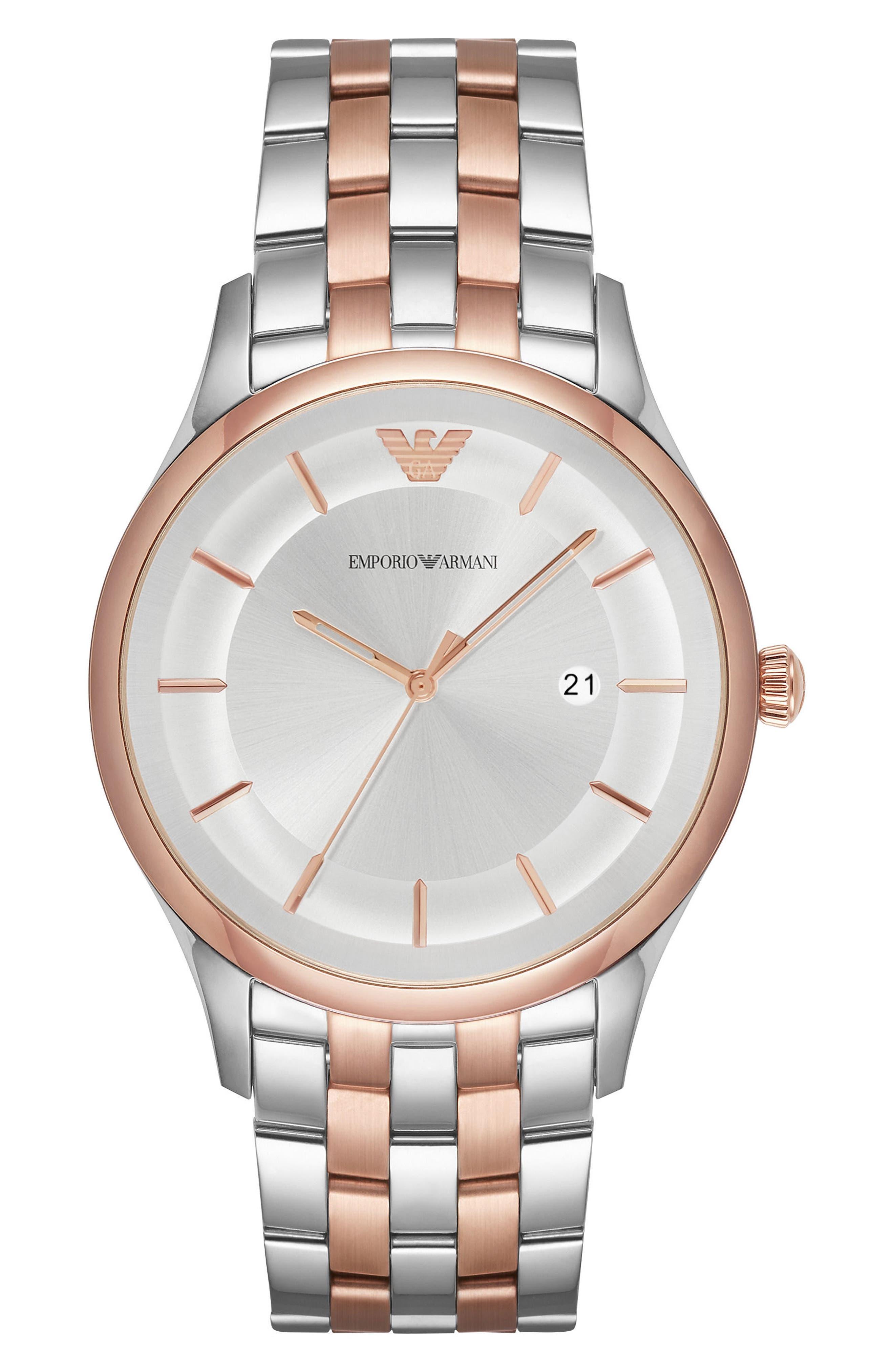Bracelet Watch, 43mm,                             Main thumbnail 1, color,                             Silver/ Silver