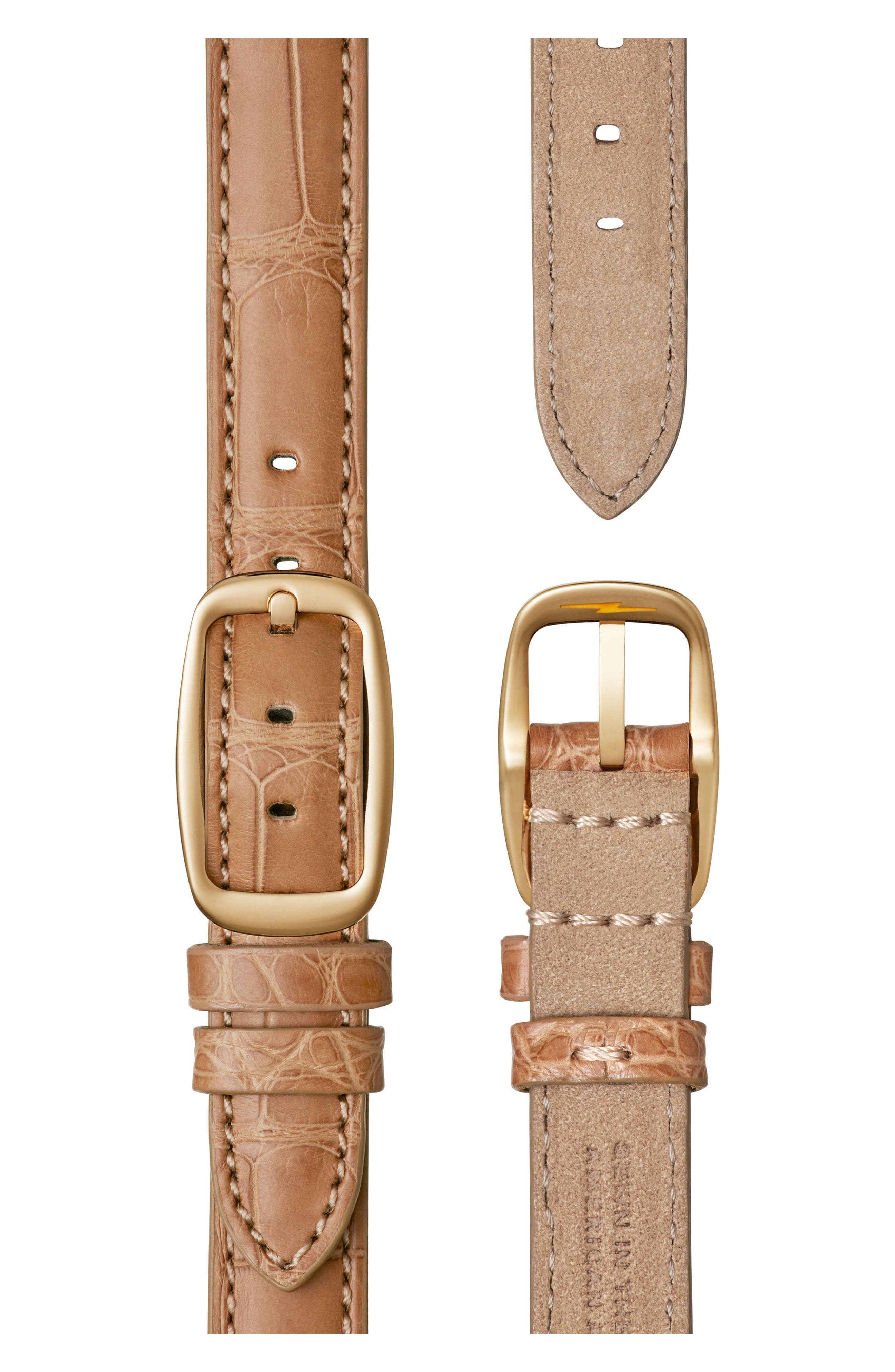 Canfield Diamond Alligator Strap Watch, 32mm,                             Alternate thumbnail 4, color,                             Natural/ Mother Of Pearl/ Gold
