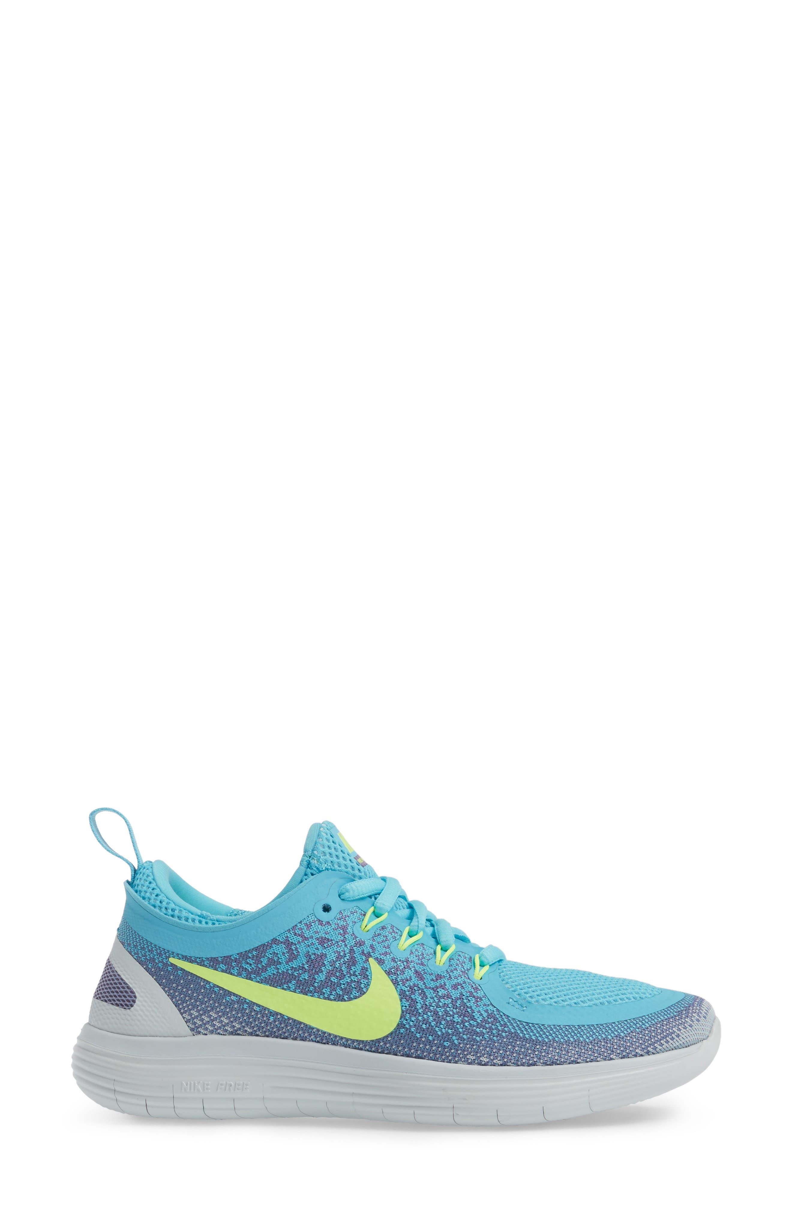 Free Run Distance 2 Running Shoe,                             Alternate thumbnail 3, color,                             Polarized Blue/ Volt/ Purple