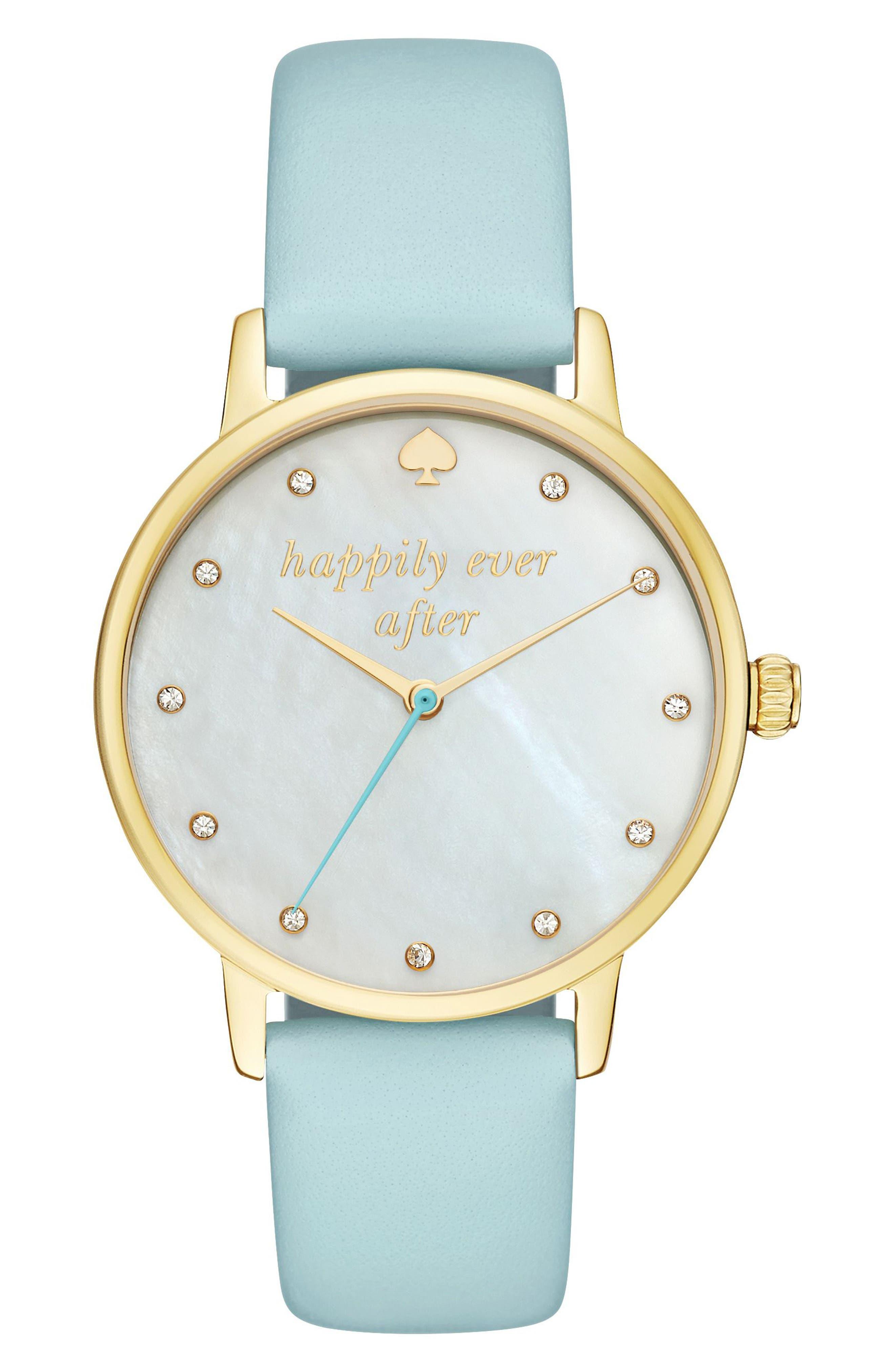 kate spade new york metro wish leather strap watch, 34mm