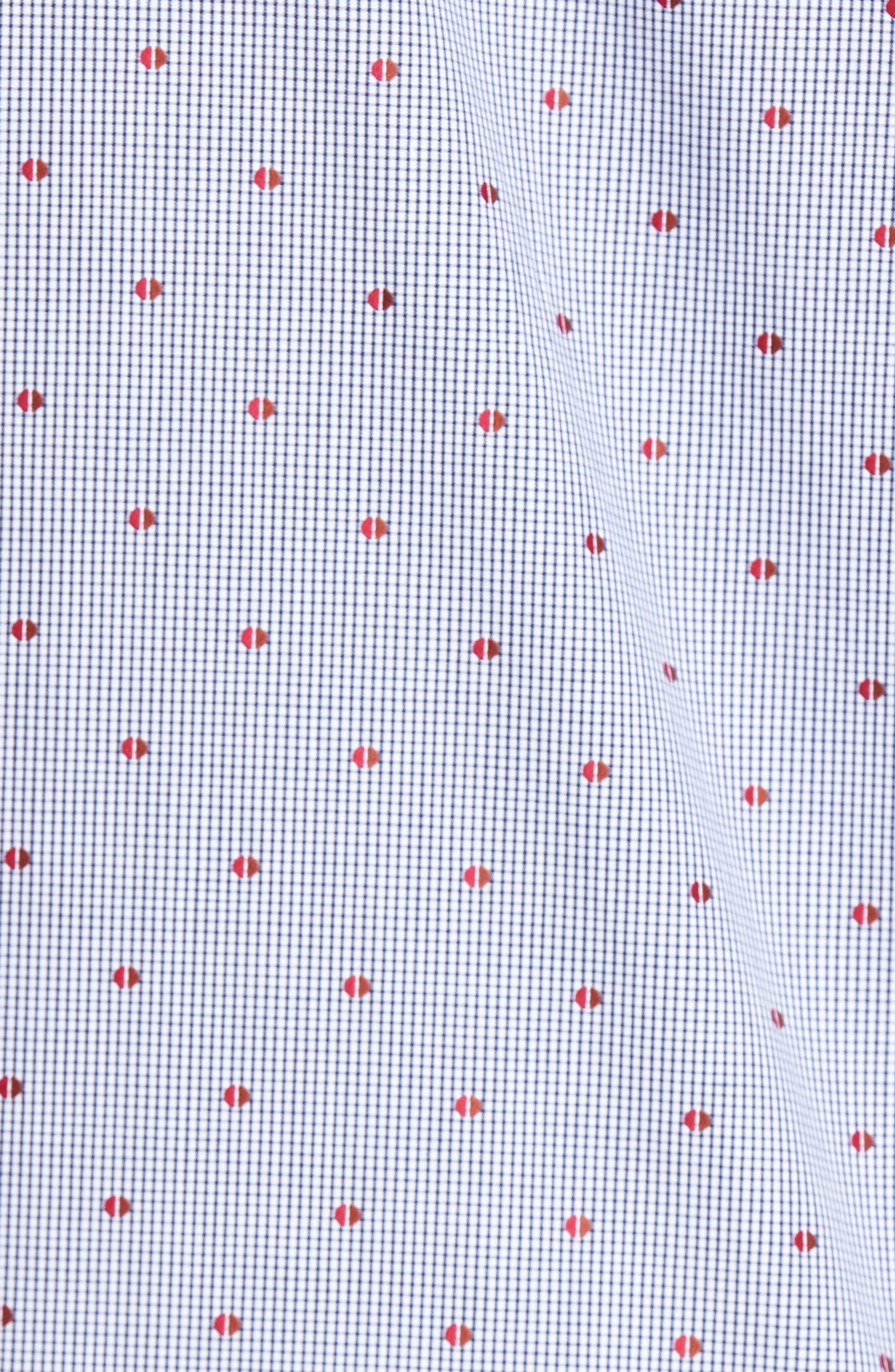 Short Sleeve Sport Shirt,                             Alternate thumbnail 5, color,                             Red/ Brown Check Red Dot Dobby