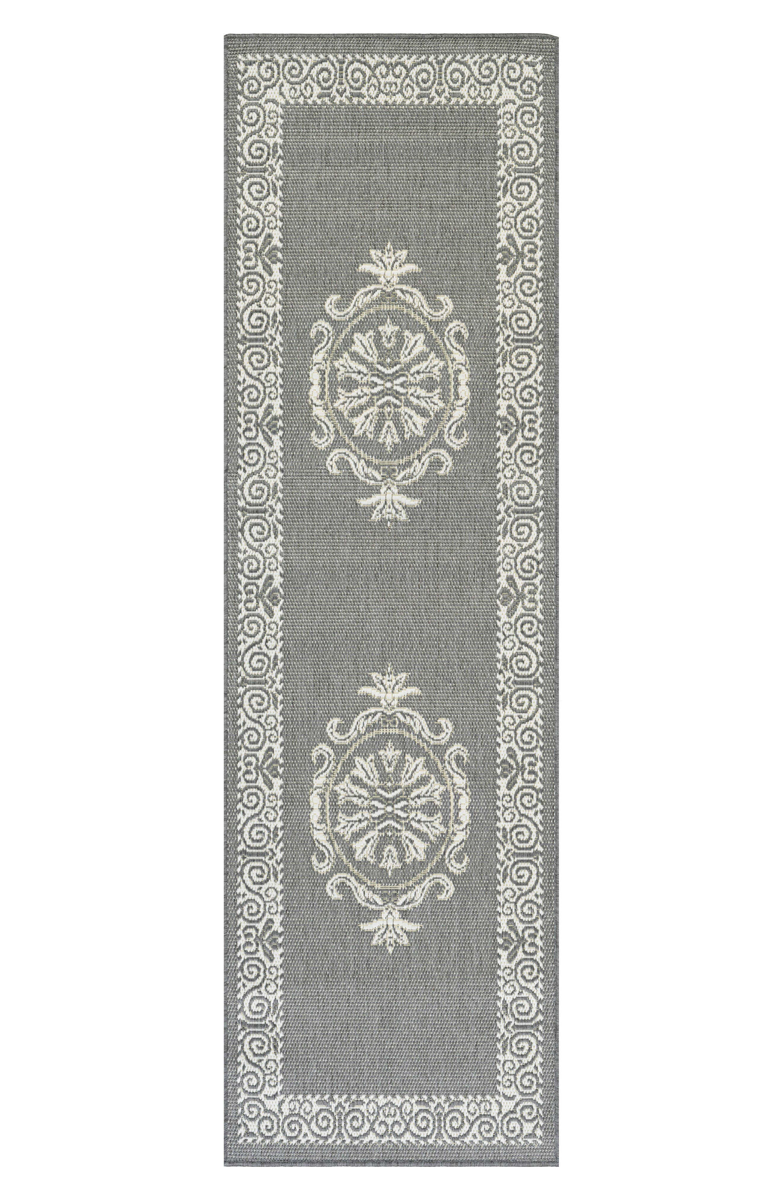 Antique Medallion Indoor/Outdoor Rug,                             Alternate thumbnail 2, color,                             Grey/ White