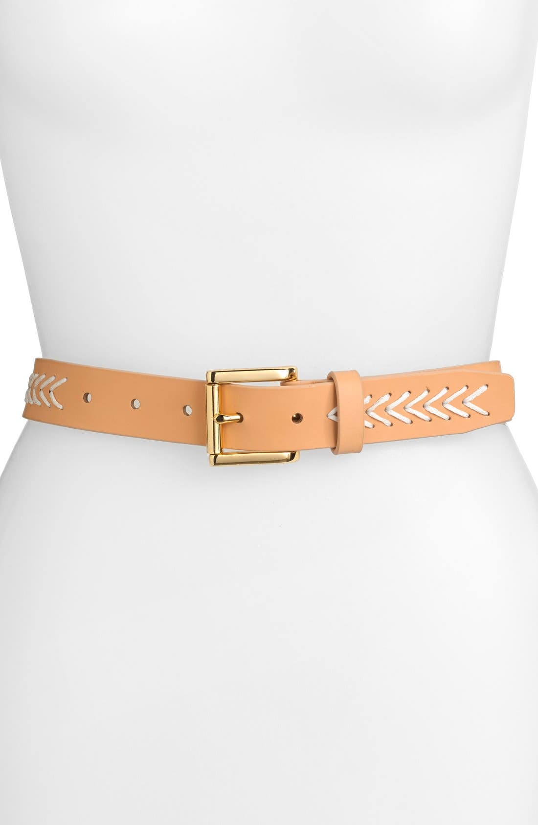 Main Image - Vince Camuto Waxed Cord & Leather Belt