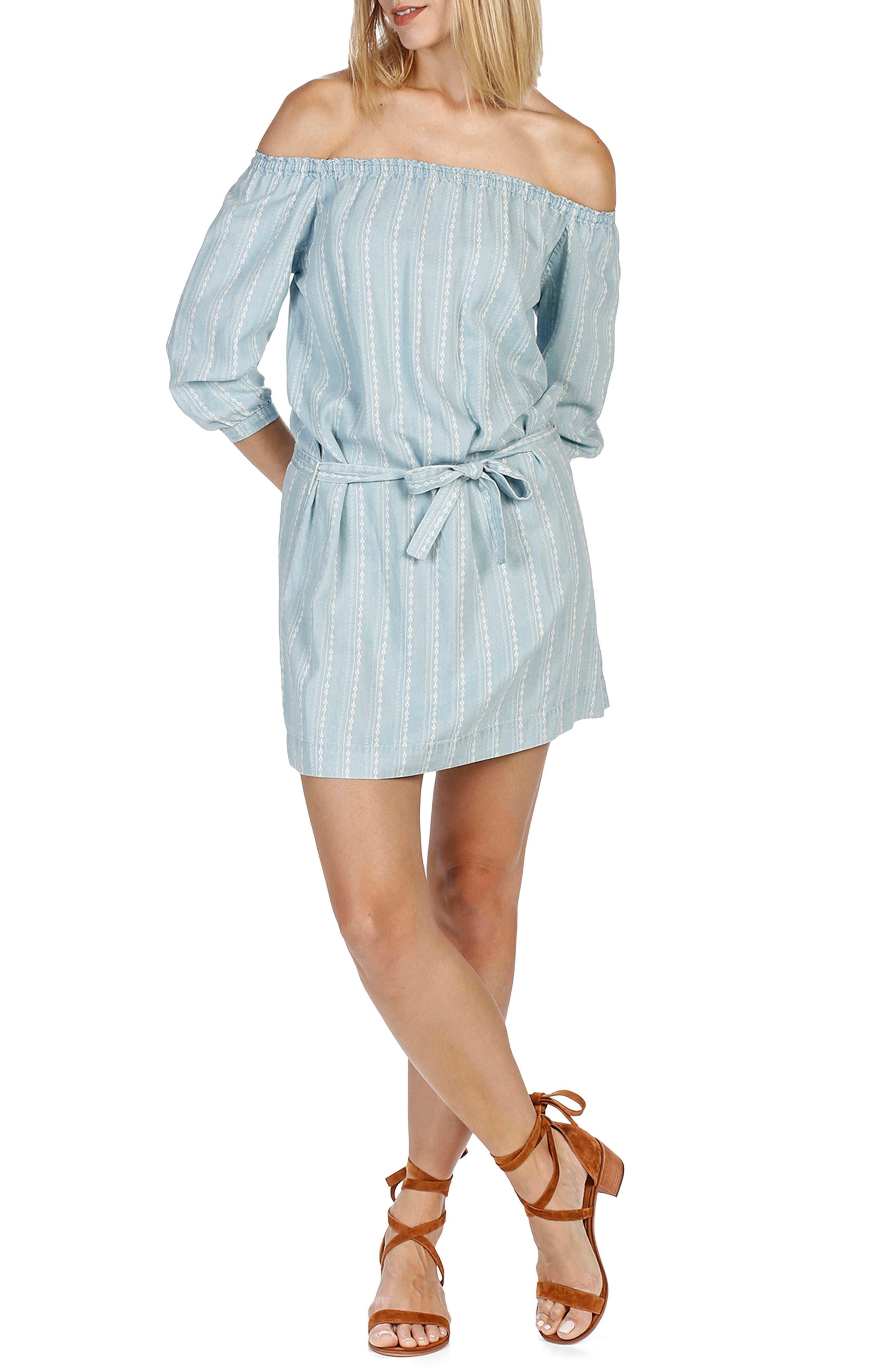 Beatrice Chambray Off the Shoulder Dress,                         Main,                         color, Vineland Stripe