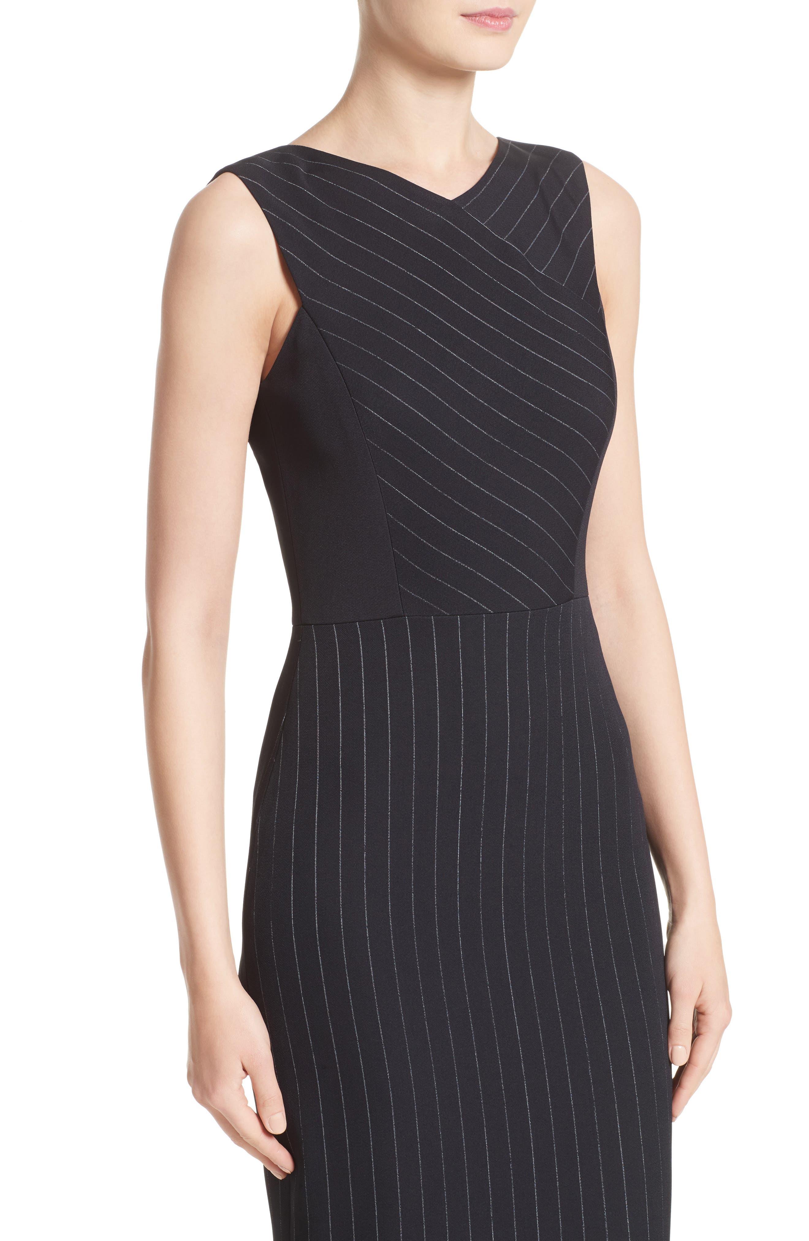 Pinstripe Stretch Dress,                             Alternate thumbnail 7, color,                             Black/ Chalk