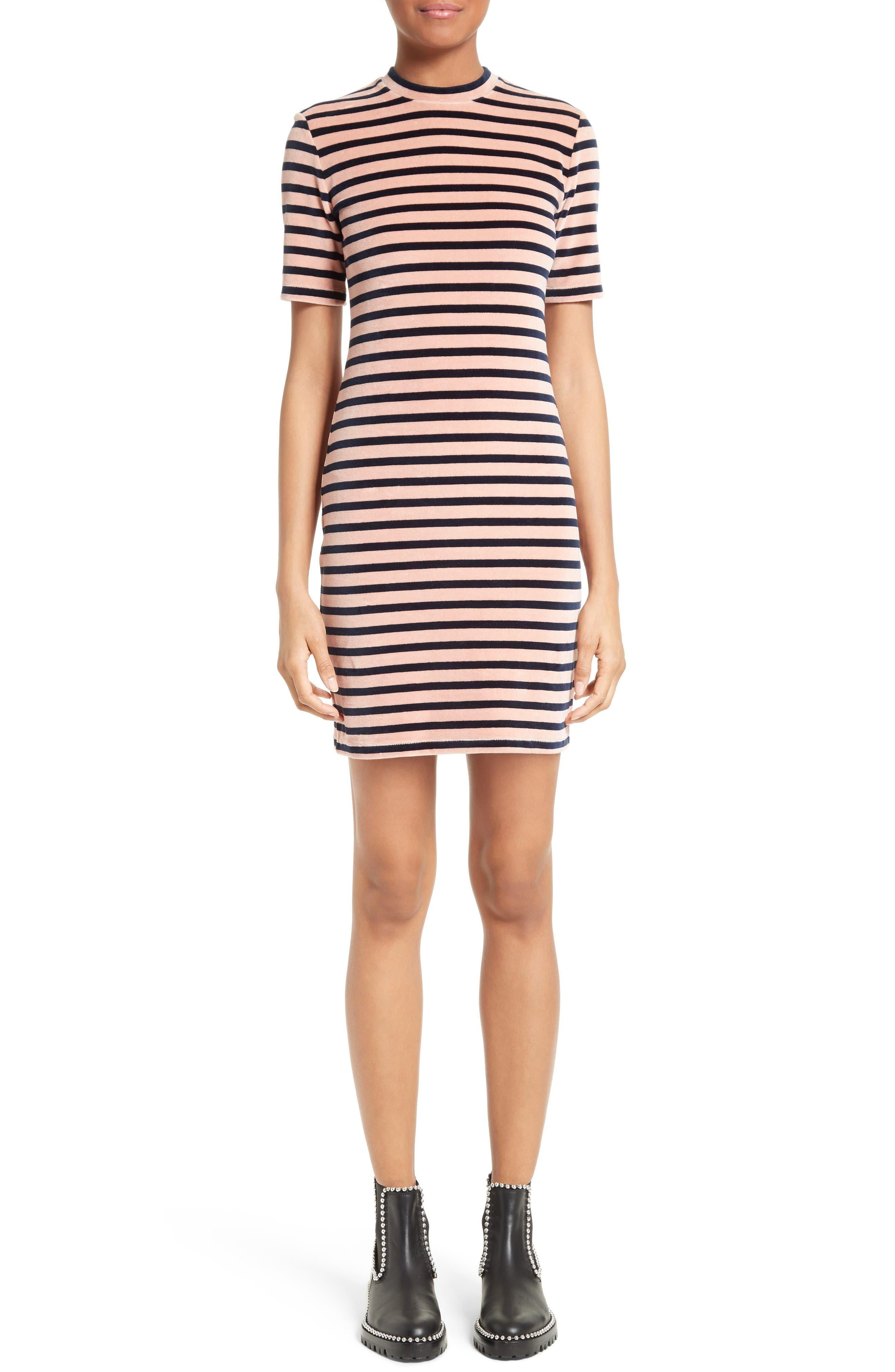 T by Alexander Wang Stripe Velvet Dress