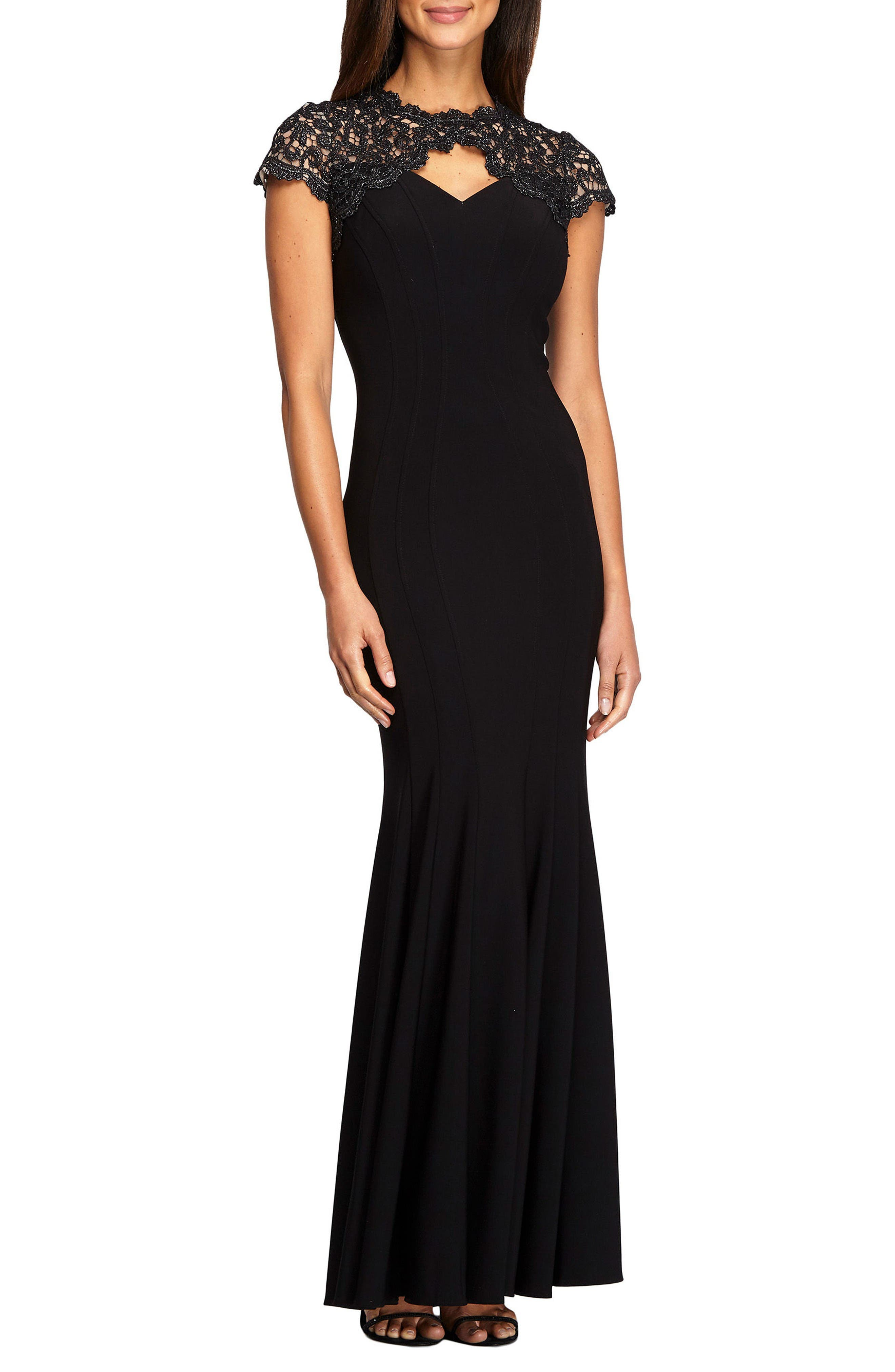 Metallic Lace & Jersey Gown,                         Main,                         color, Black
