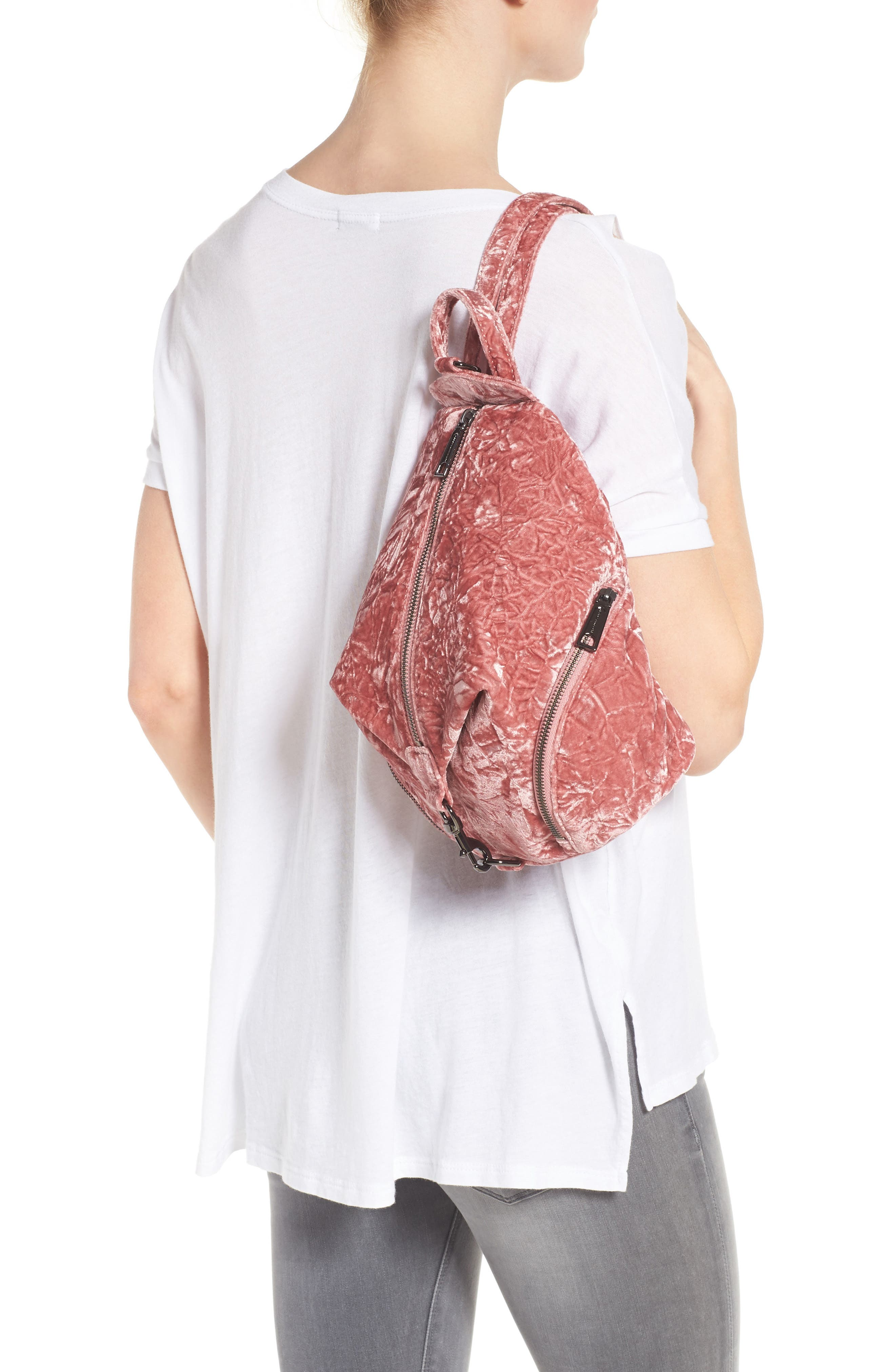 Medium Julian Velvet Backpack,                             Alternate thumbnail 3, color,                             Pink Velvet/ Gunmetal Hardware
