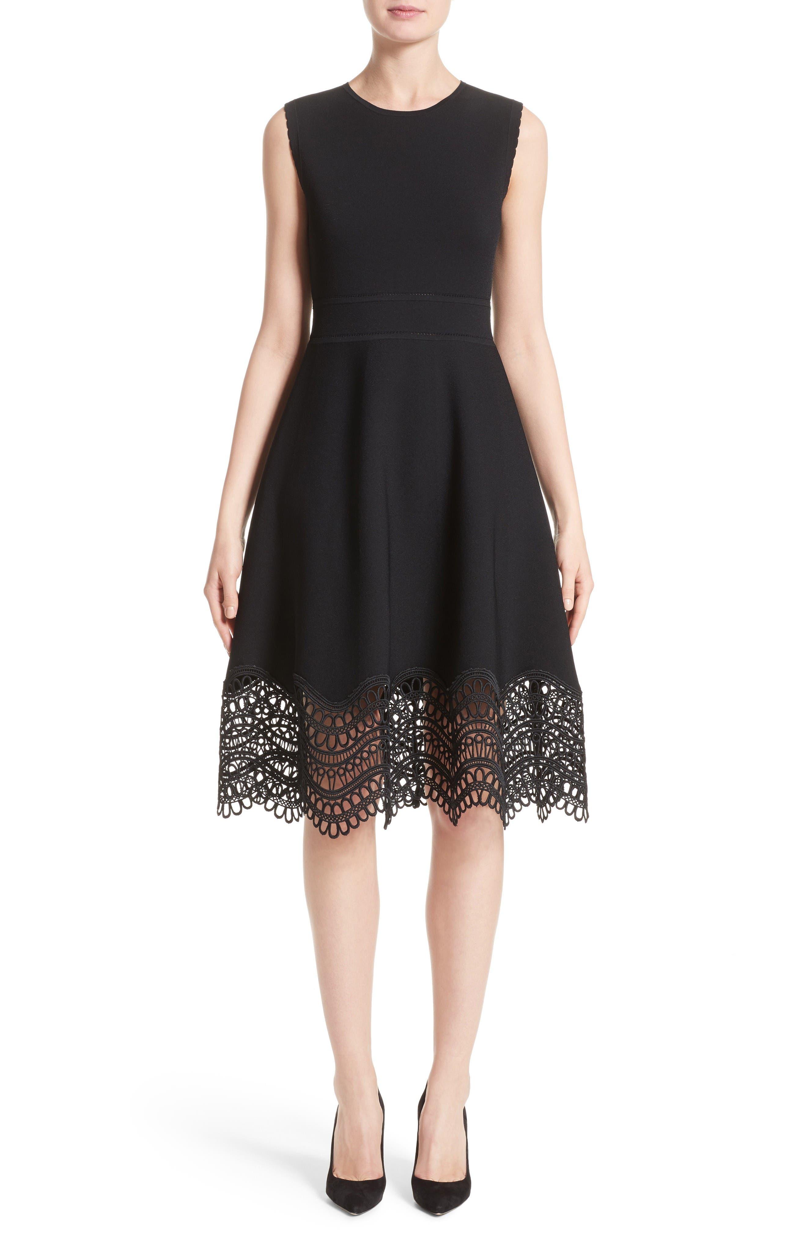 Lace Hem Dress,                         Main,                         color, Black