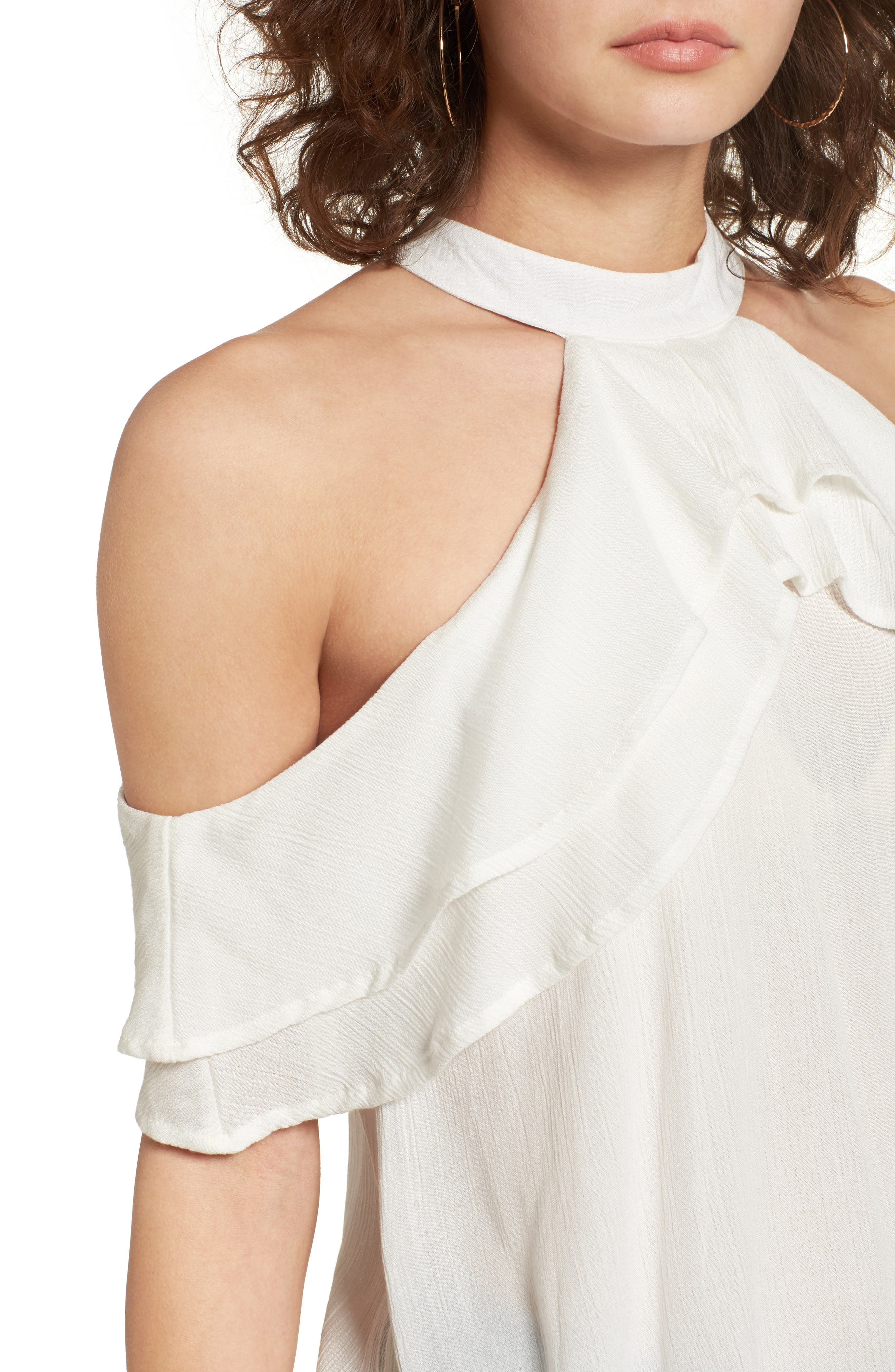 Alternate Image 4  - Band of Gypsies Ruffle Cold Shoulder Blouse