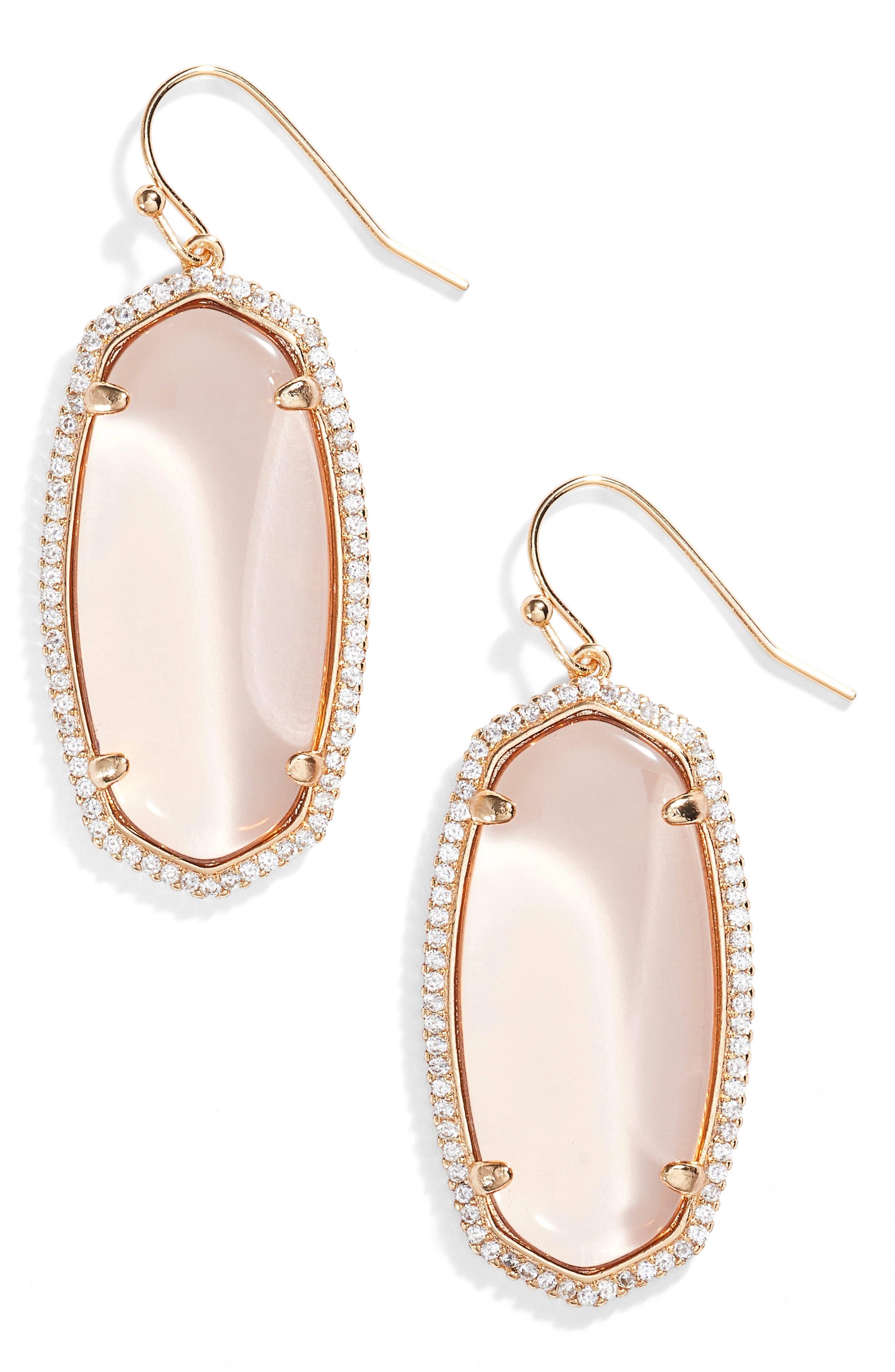 Elle Pavé Drop Earrings,                             Main thumbnail 1, color,                             Peach Clear Glass/ Rose Gold