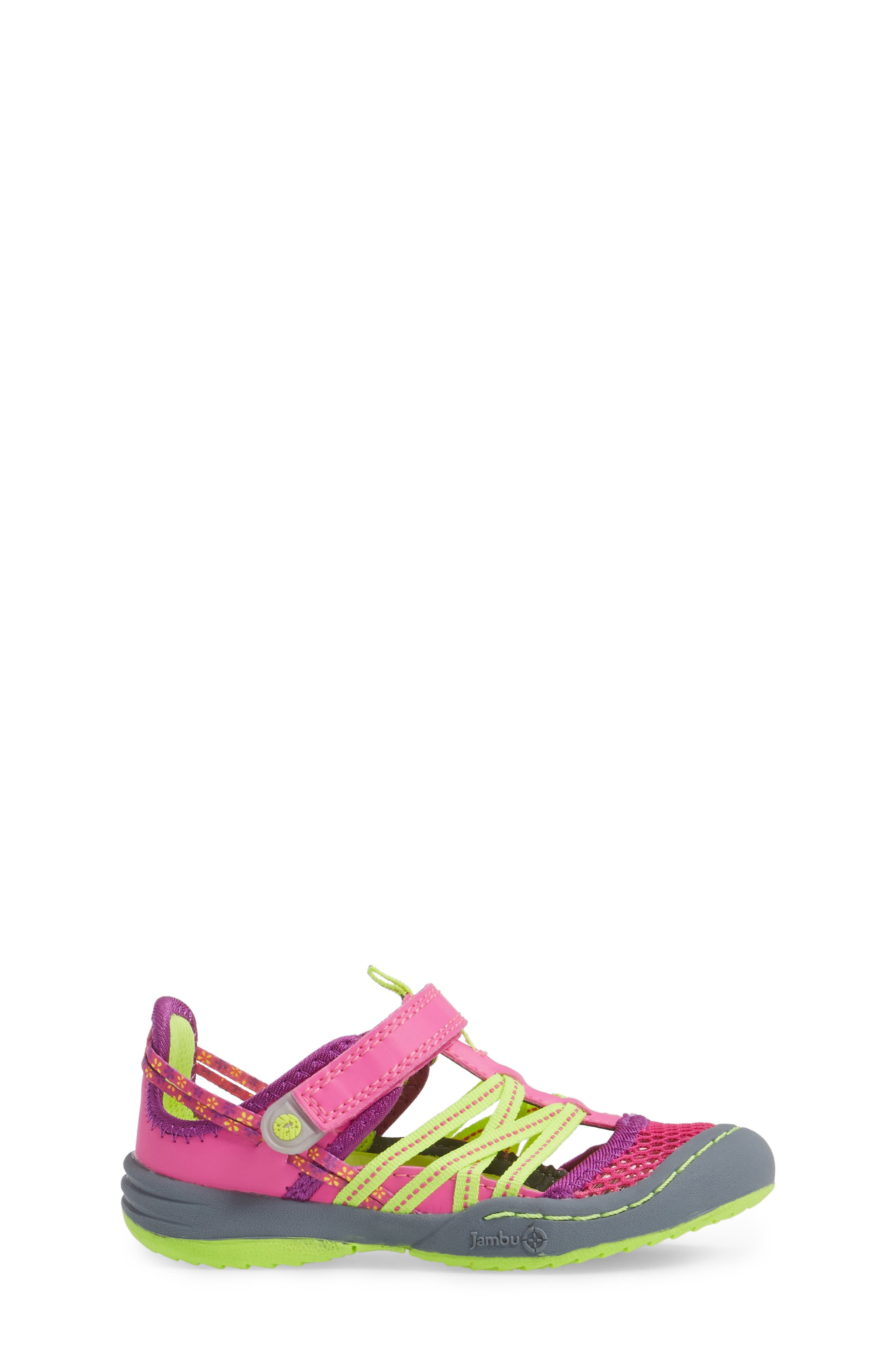 Everly Water Sport Fisherman Sandal,                             Alternate thumbnail 3, color,                             Pink/ Neon